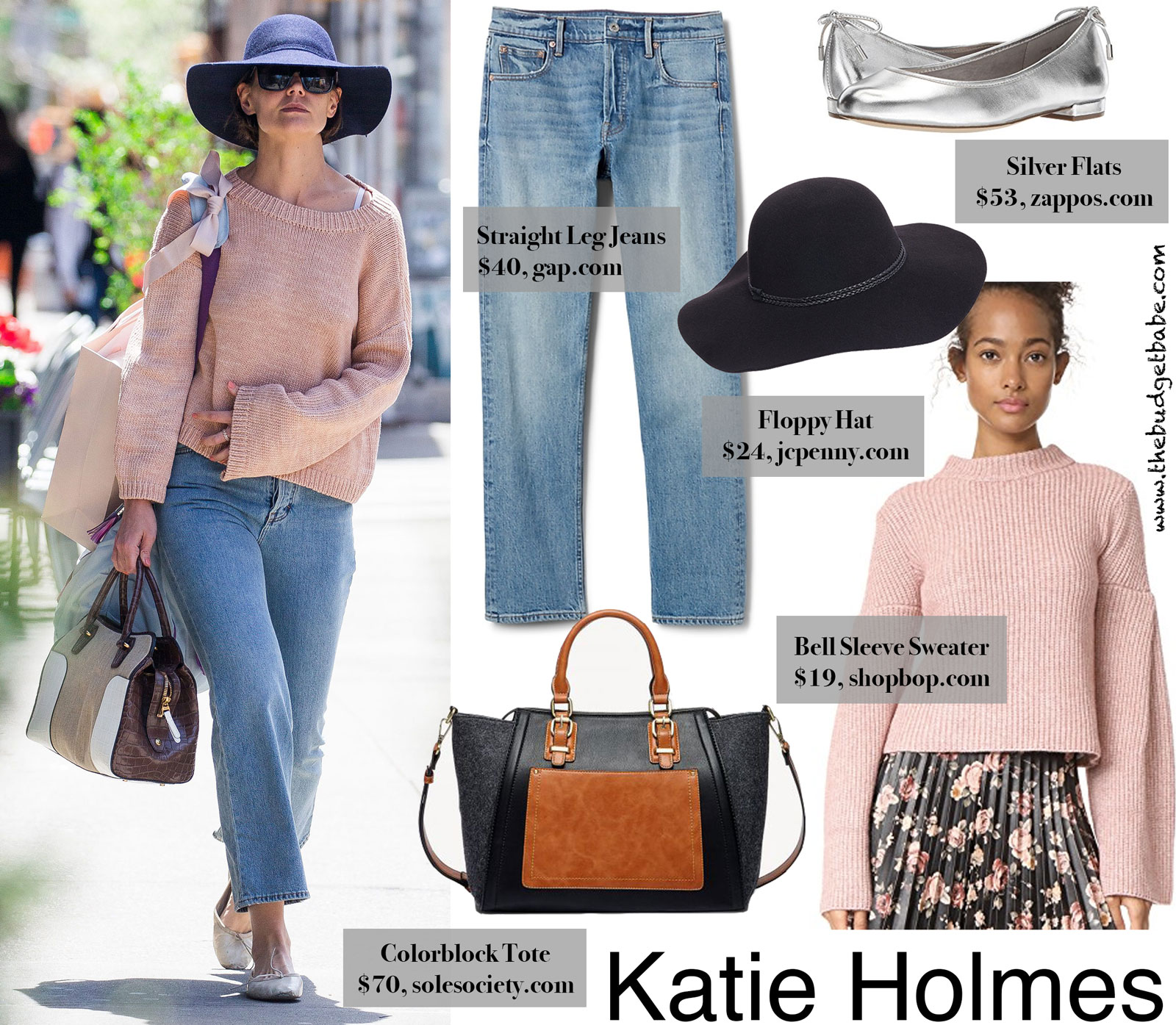 Katie Holmes Floppy Hat and Bell Sleeve Sweater Look for Less
