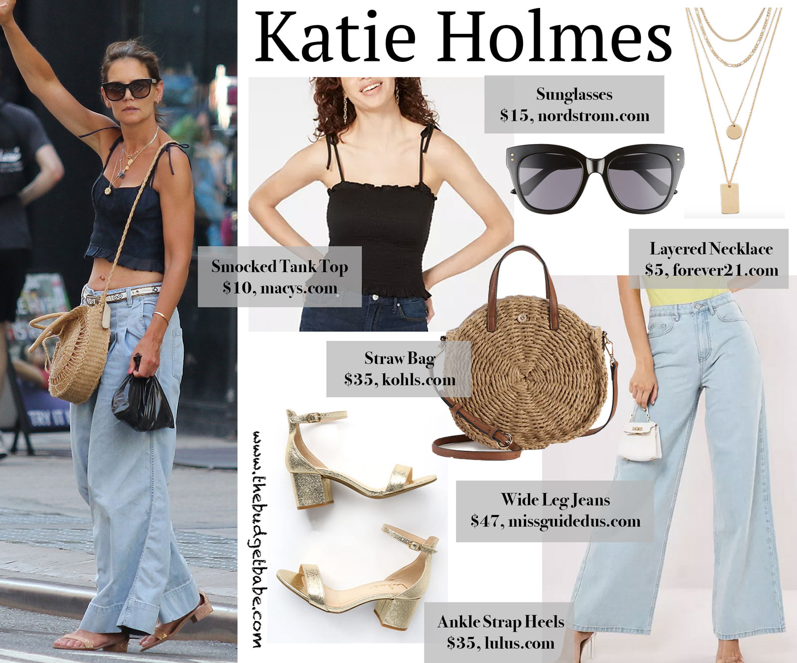 Katie Holmes Black Tank Wide Leg Jeans Look for Less