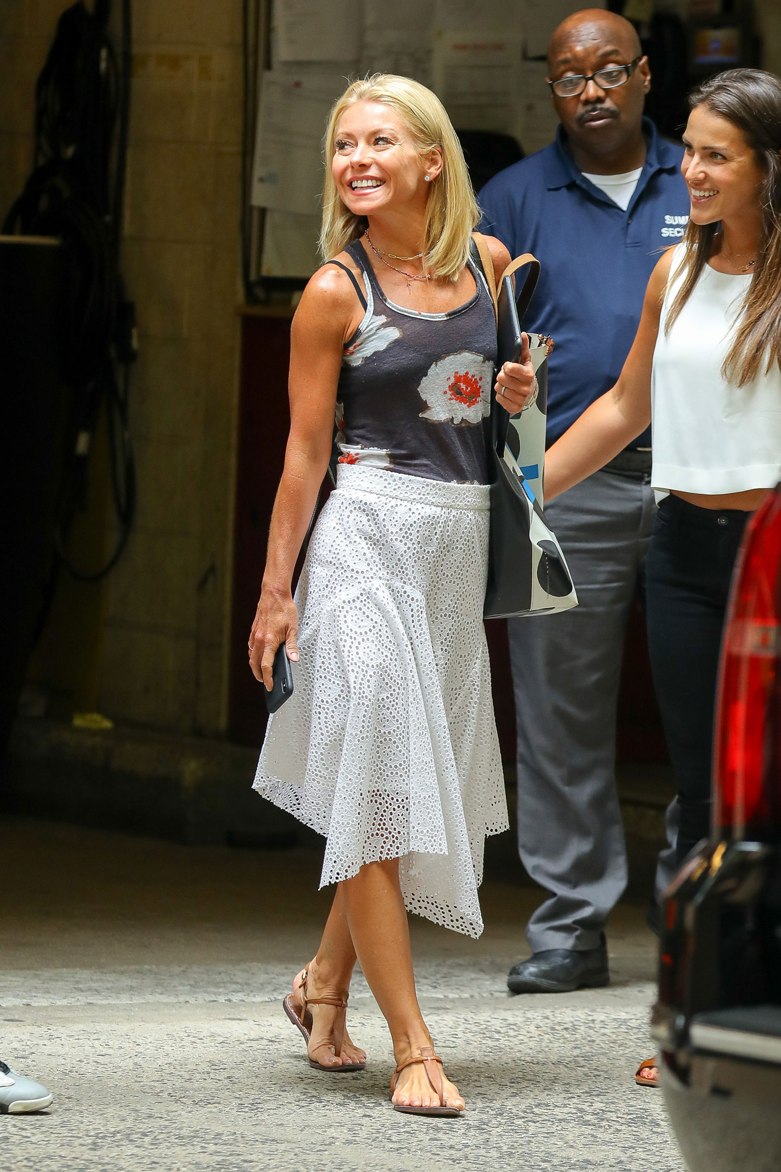 Get Kelly Ripa S White Eyelet Skirt T Strap Sandals And