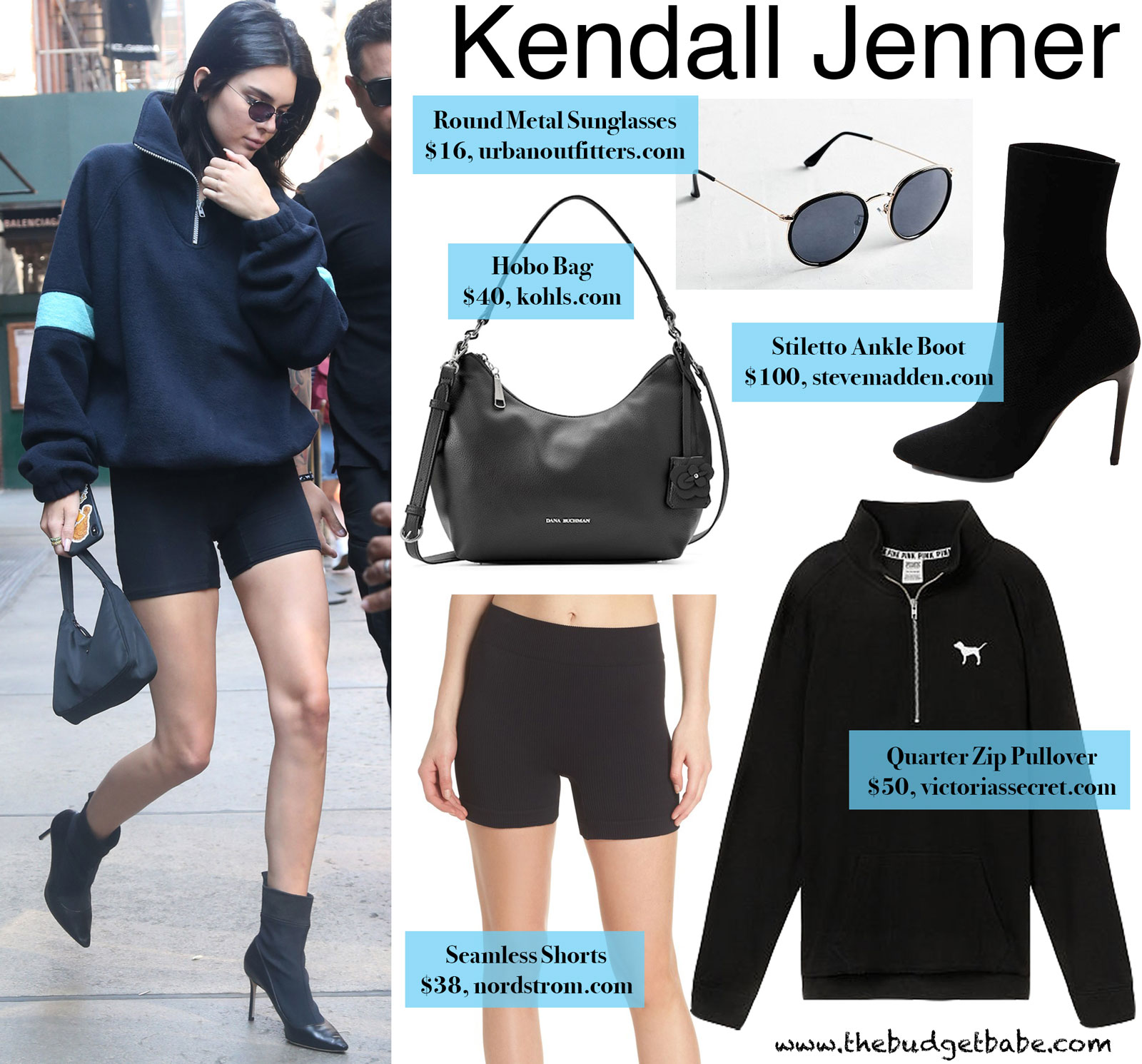 Kendall Jenner Ankle Boots and Quarter Zip Pullover Look for Less