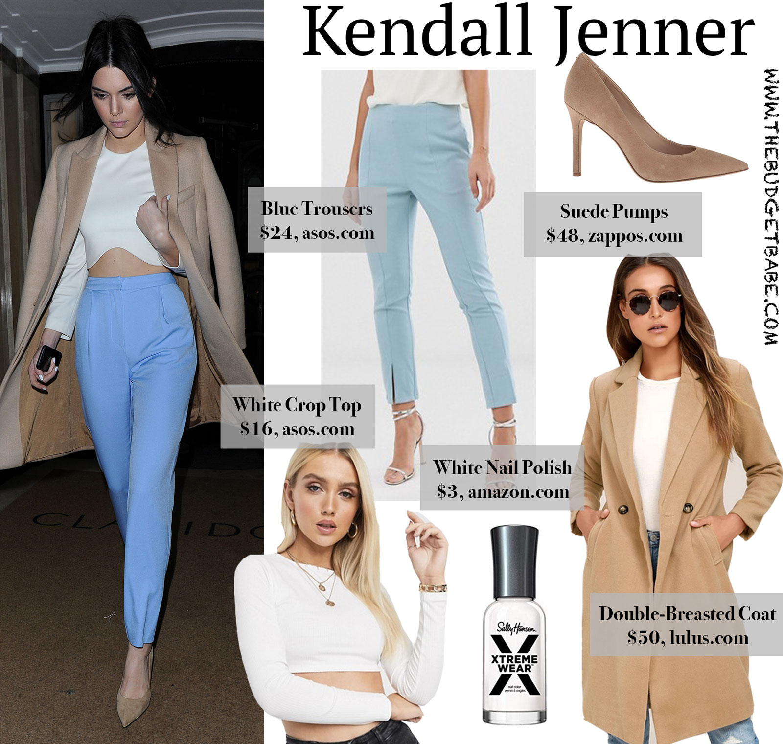 Kendall Jenner Blue Trousers Tan Coat Look for Less