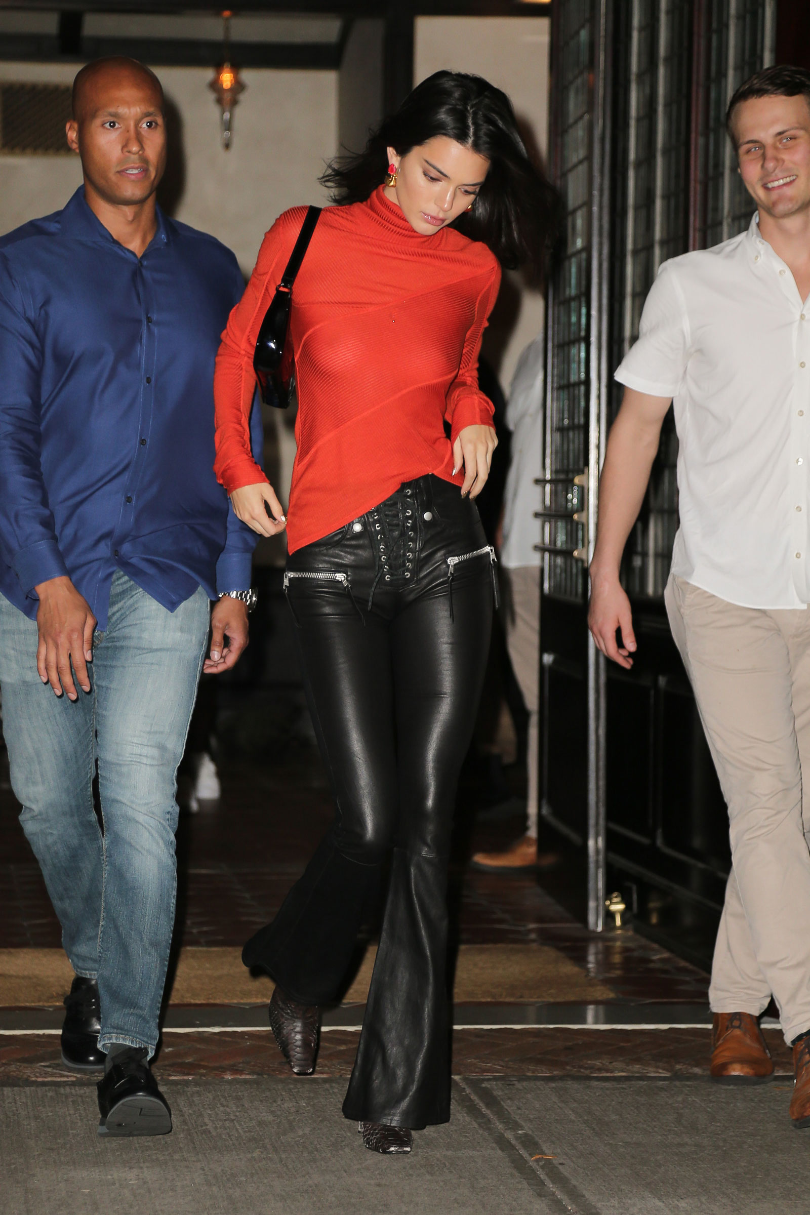 Kendall Jenner Red Turtleneck Leather Pants