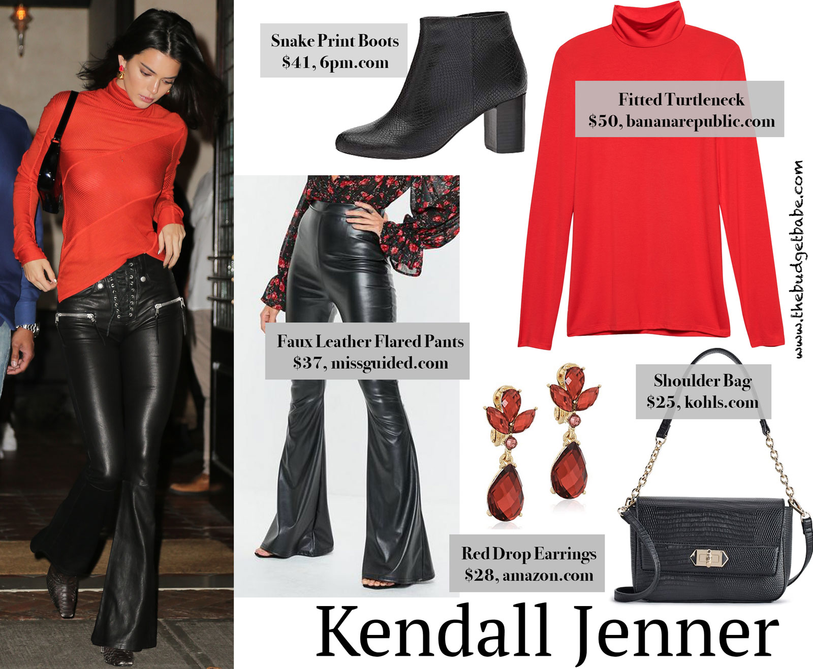 619e287e1b166 Kendall Jenner's Red Turtleneck and Flared Leather Pants Look for ...