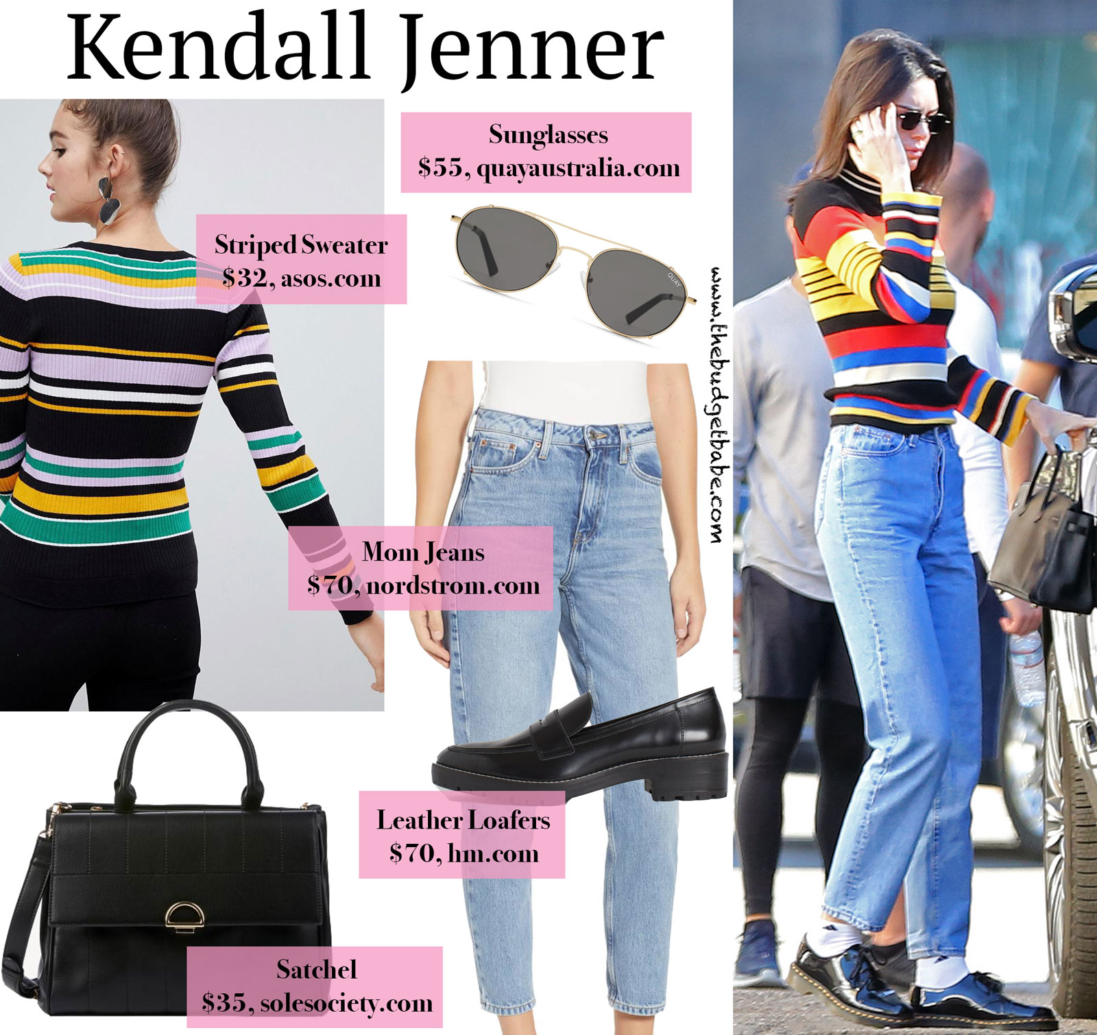 Kendall Jenner Striped Sweater and Loafers Look for Less
