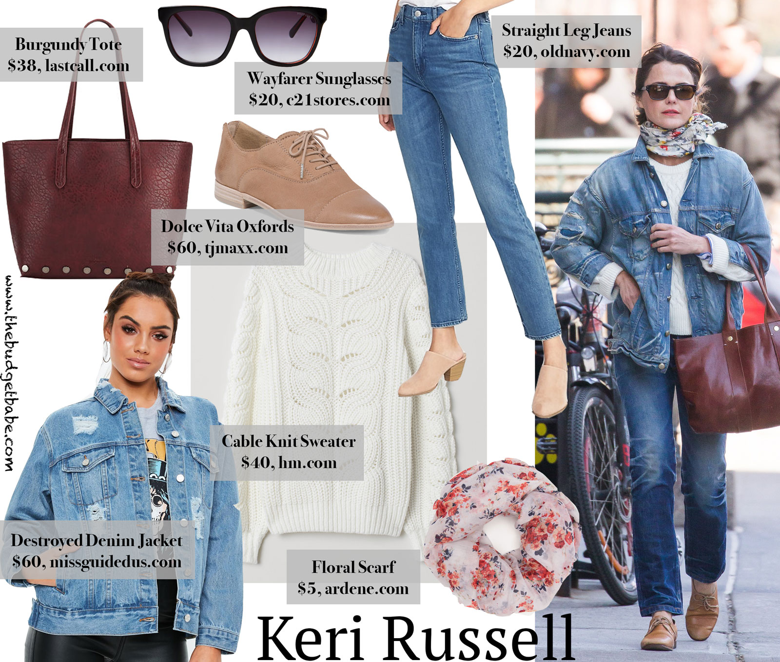 Keri Russell's Denim Jacket and Oxfords Look for Less