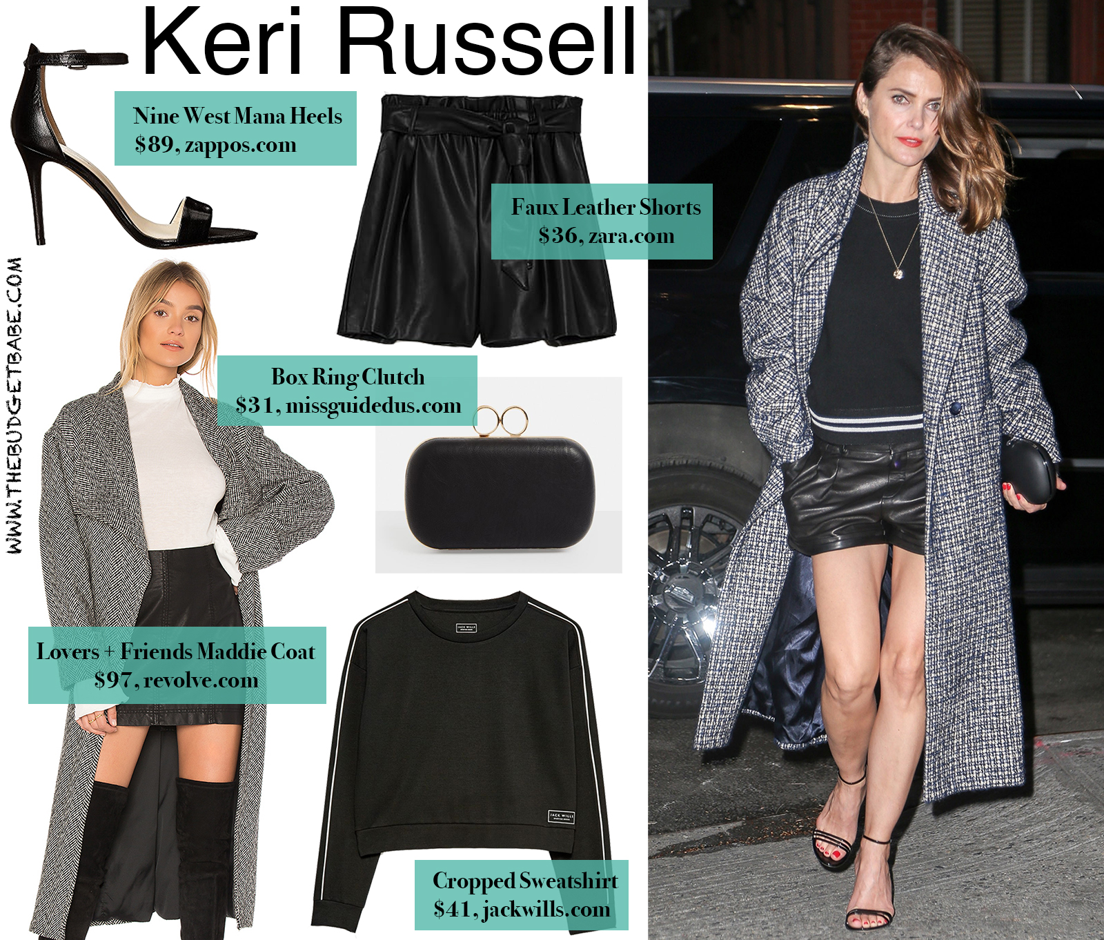 Keri Russell's Plaid Coat and Leather Shorts Look for Less