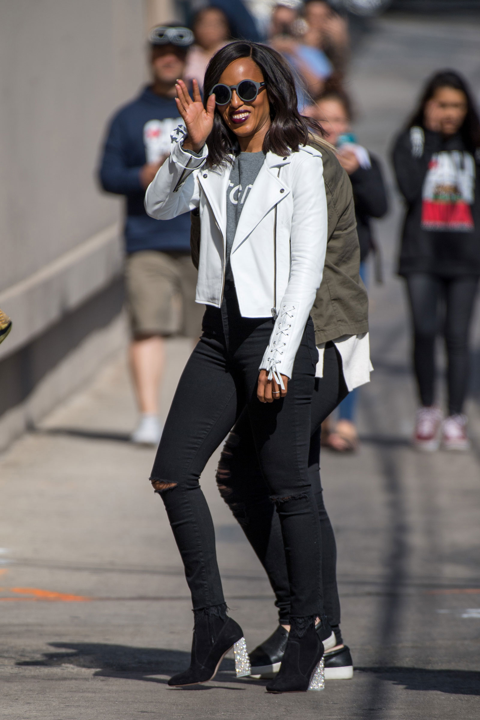 Kerry Washington White Moto Jacket
