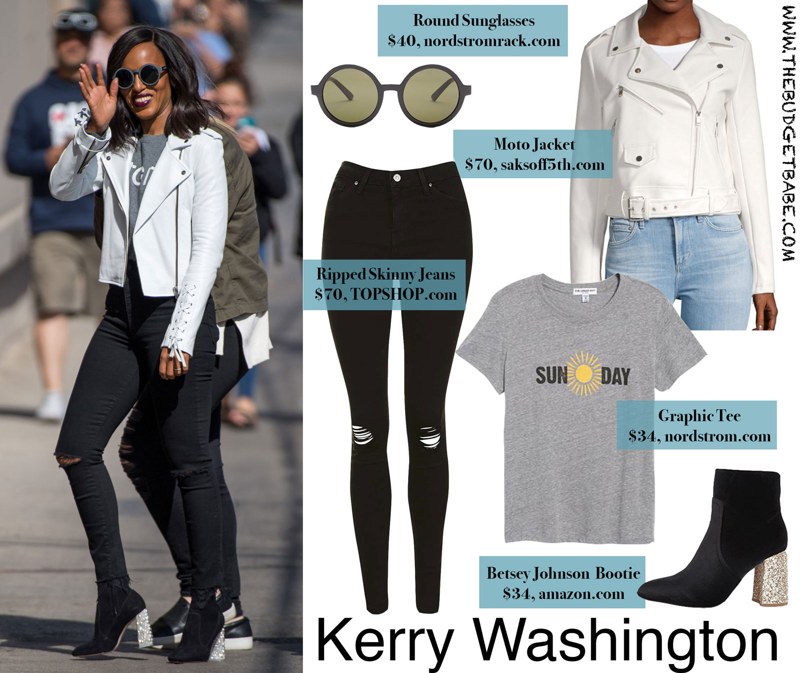 Kerry Washington White Moto Jacket and Glitter Heel Bootie Look for Less