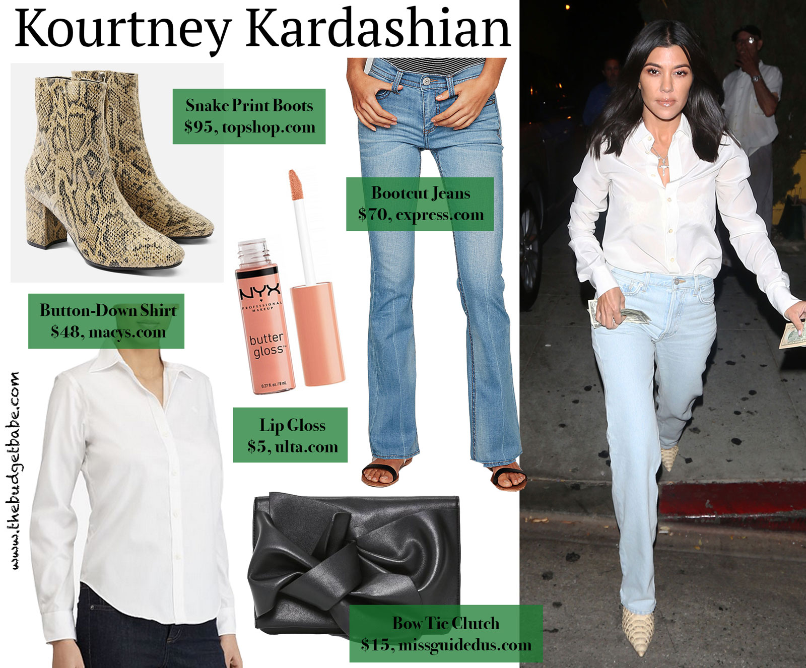 Kourtney Kardashian Python Boots and White Shirt Look for Less