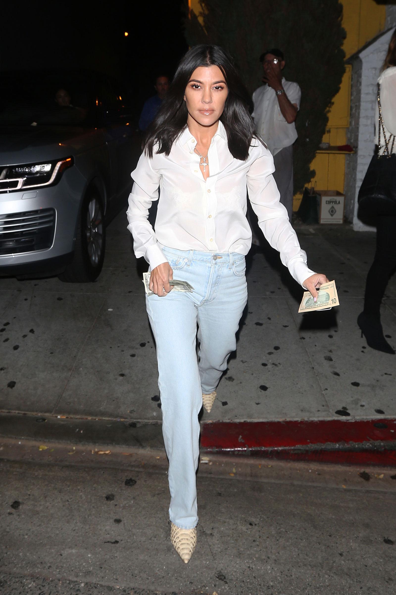 19ad52d0485 Kourtney Kardashian Python Boots and White Shirt