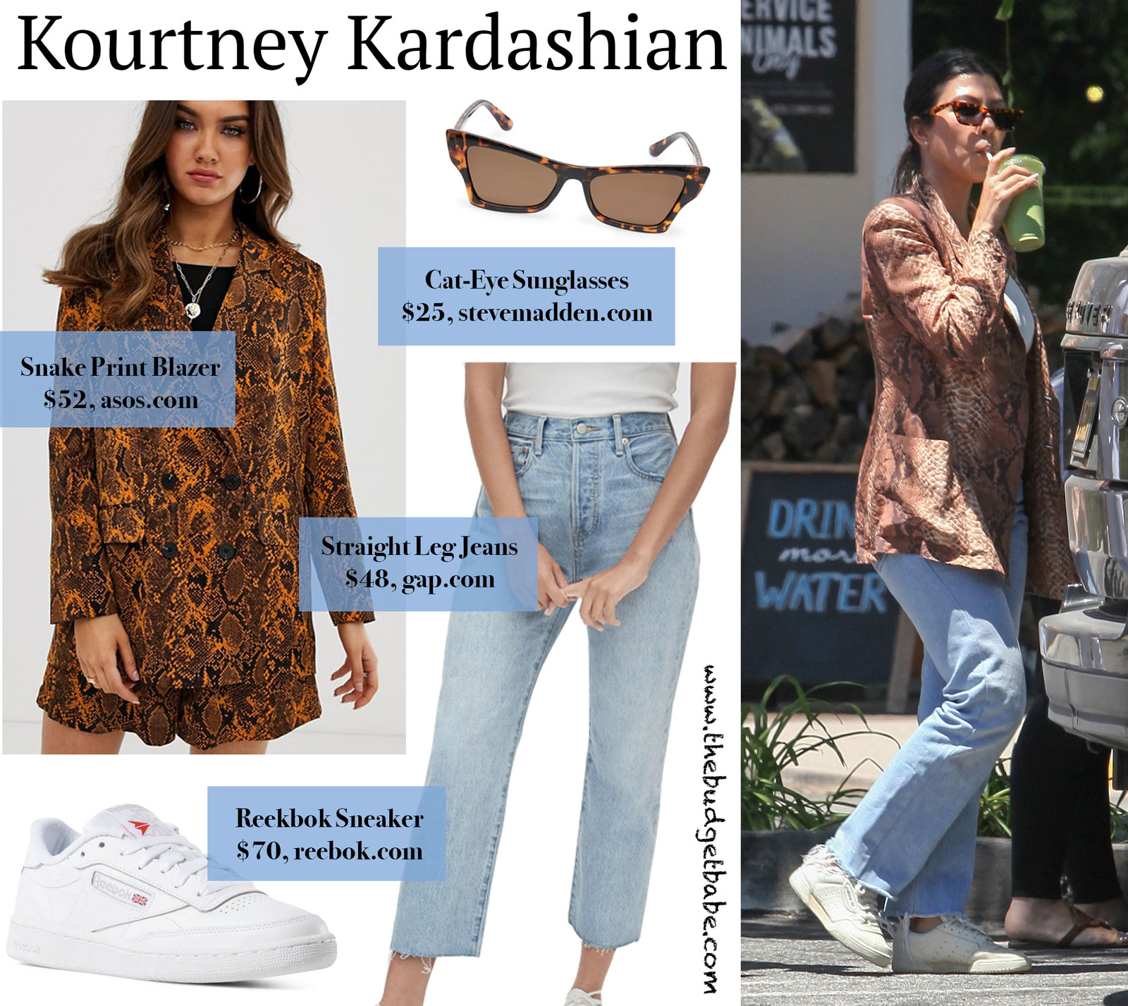 Kourtney Kardashian Snake Skin Blazer Look for Less