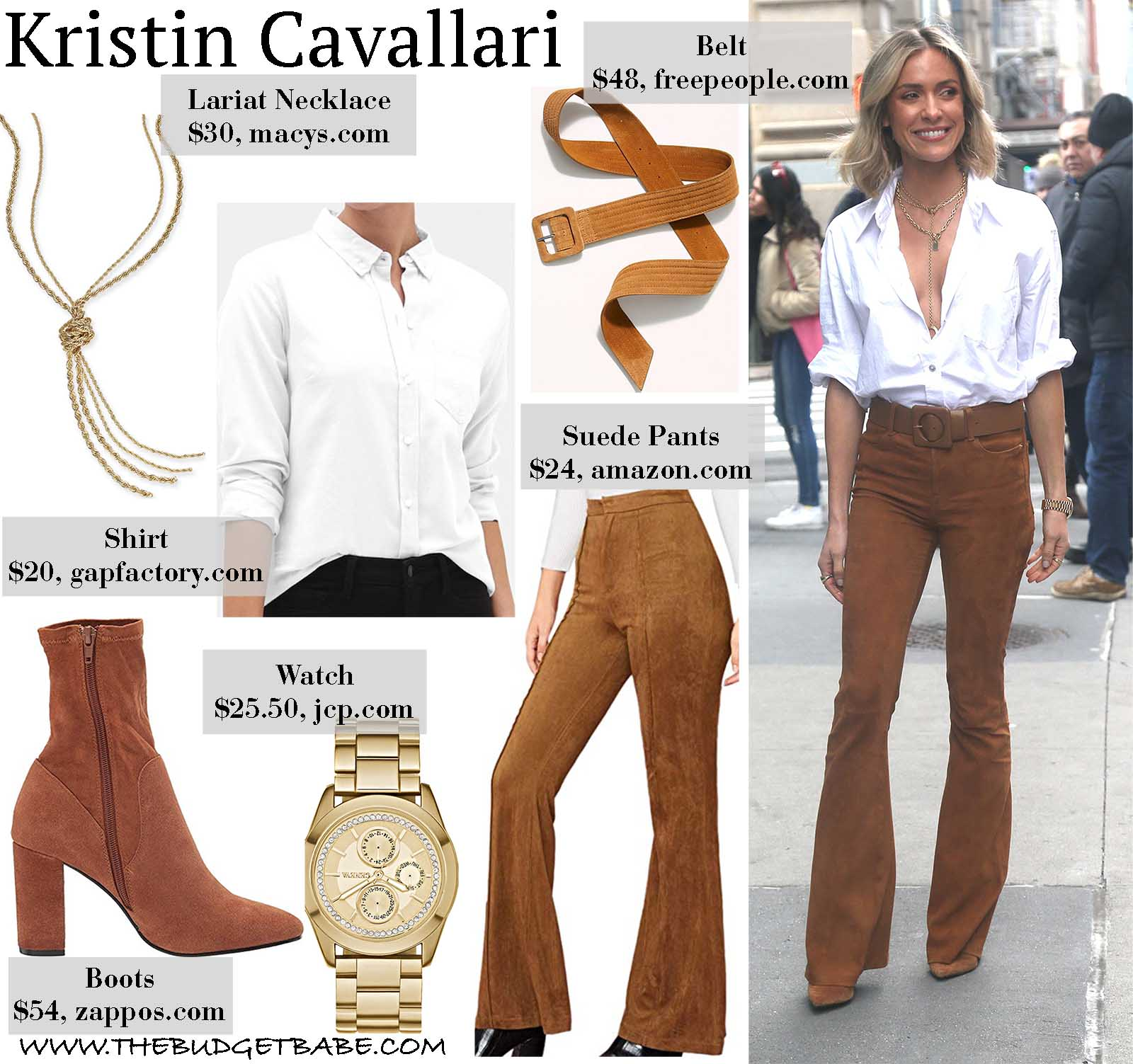 Kristin is 70's chic in suede bell pants!