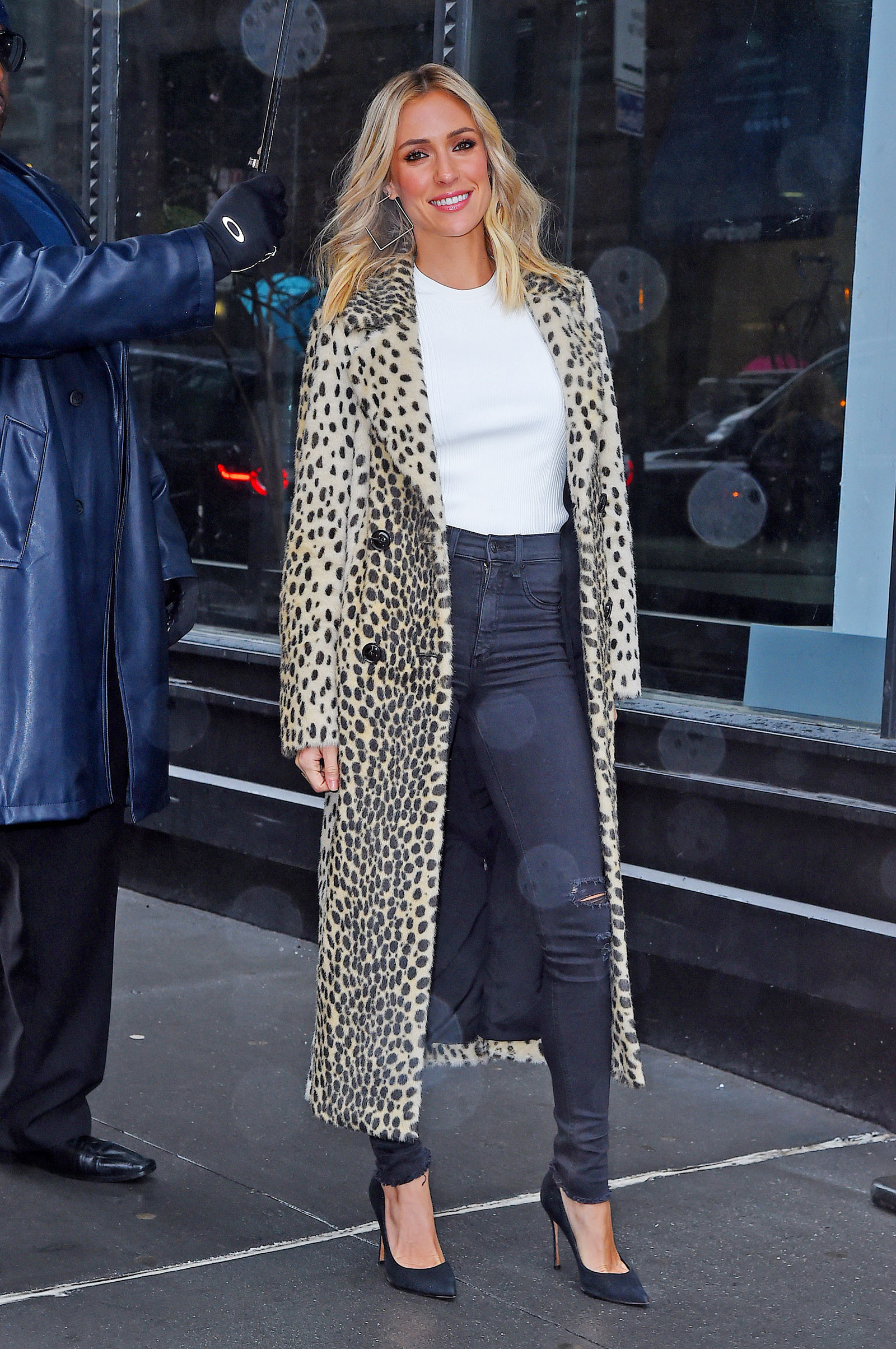 Kristin Cavallari Leopard Coat and Square Earrings
