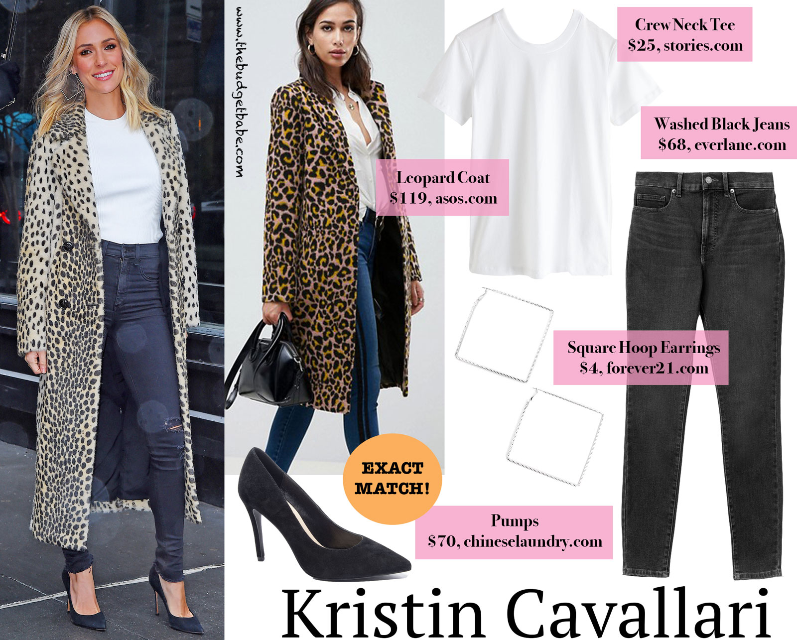 Kristin Cavallari Leopard Coat and Square Earrings Look for Less