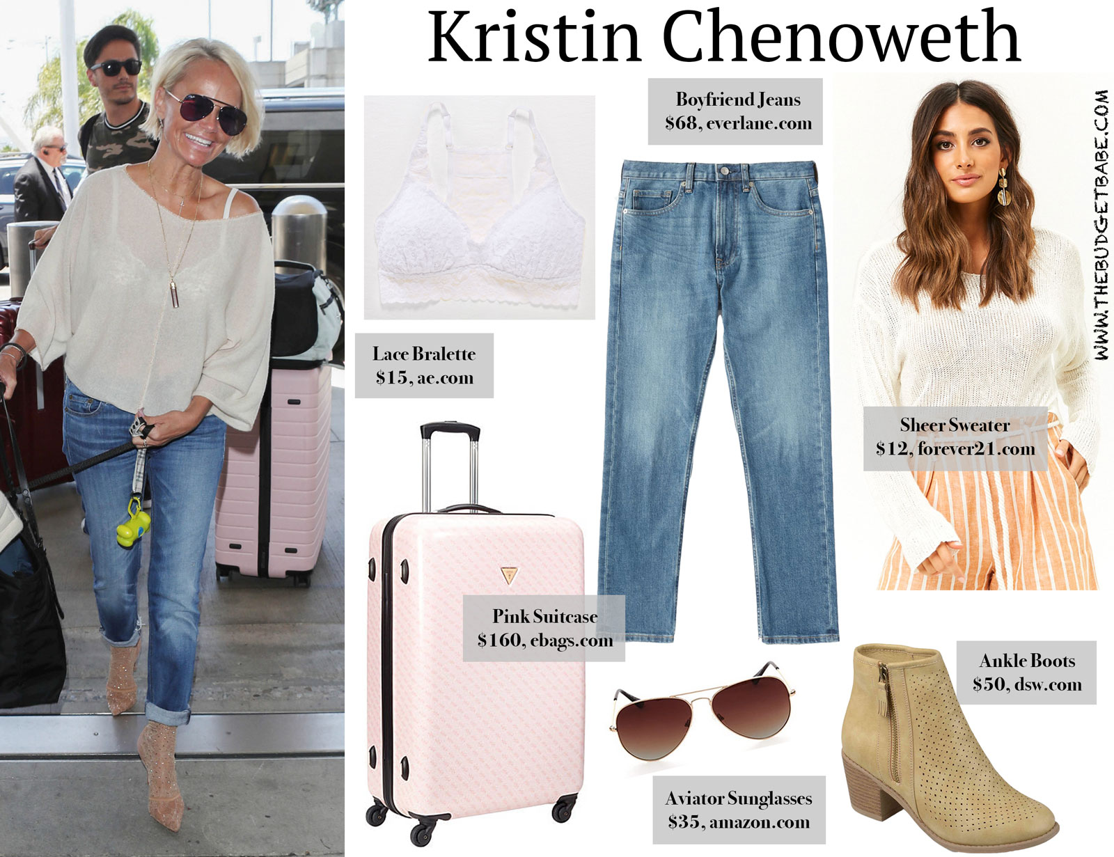 Kristin Chenoweth Travel Outfit and Pink Suitcase for Less