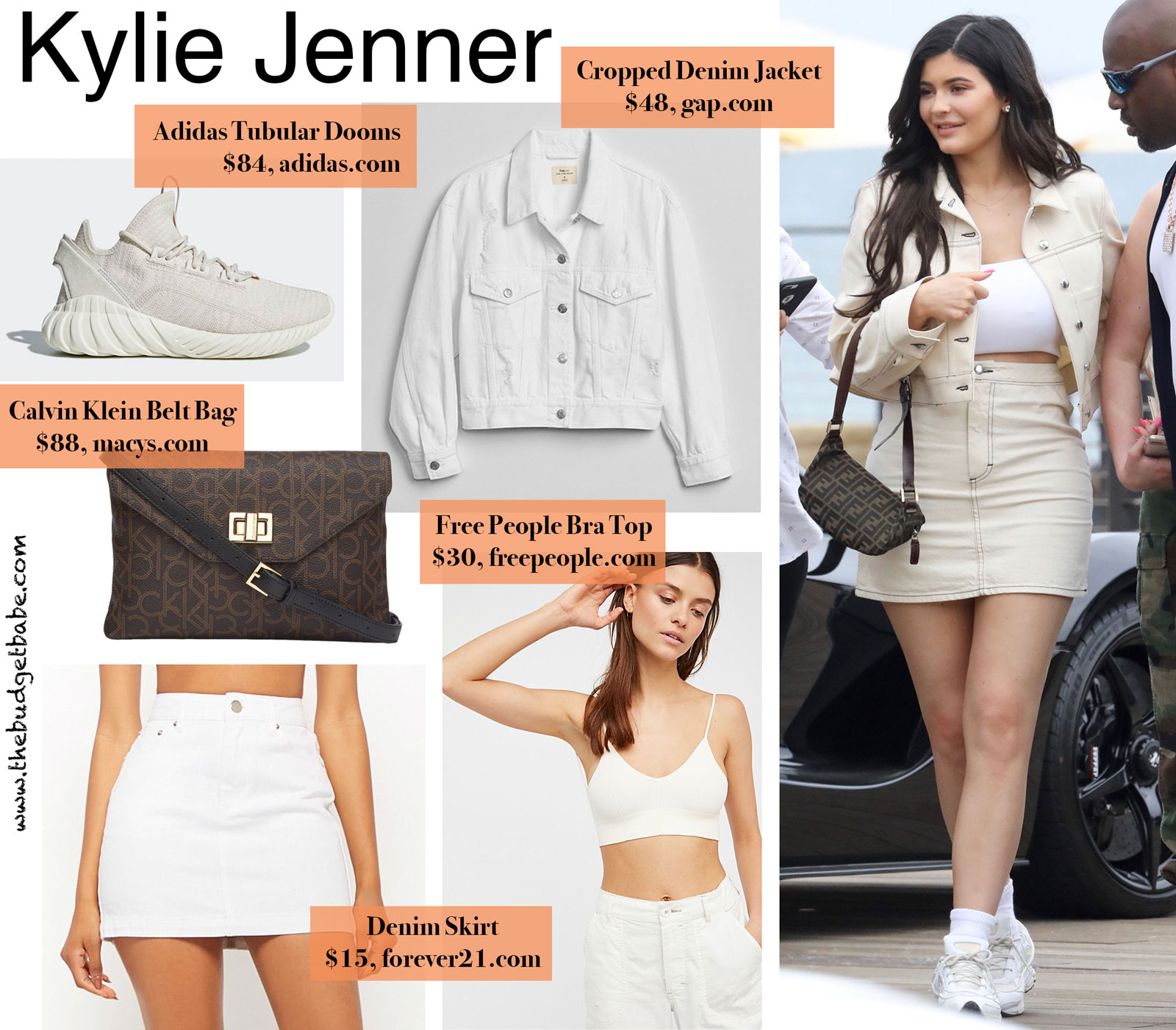 Kylie Jenner Denim Mini Skirt and Cropped Jacket Look for Less