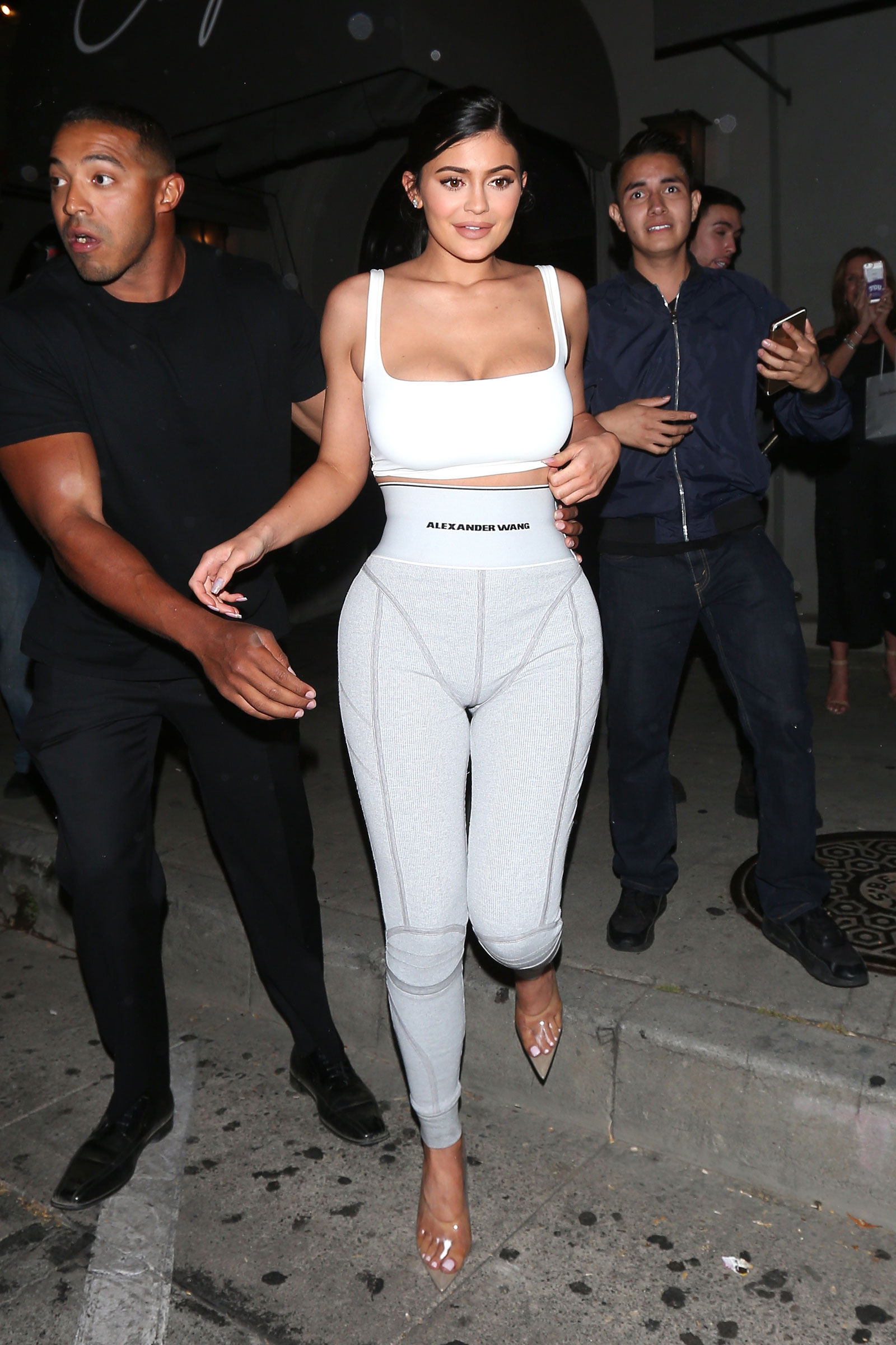Kylie Jenner Grey Logo Leggings and White Bra Top