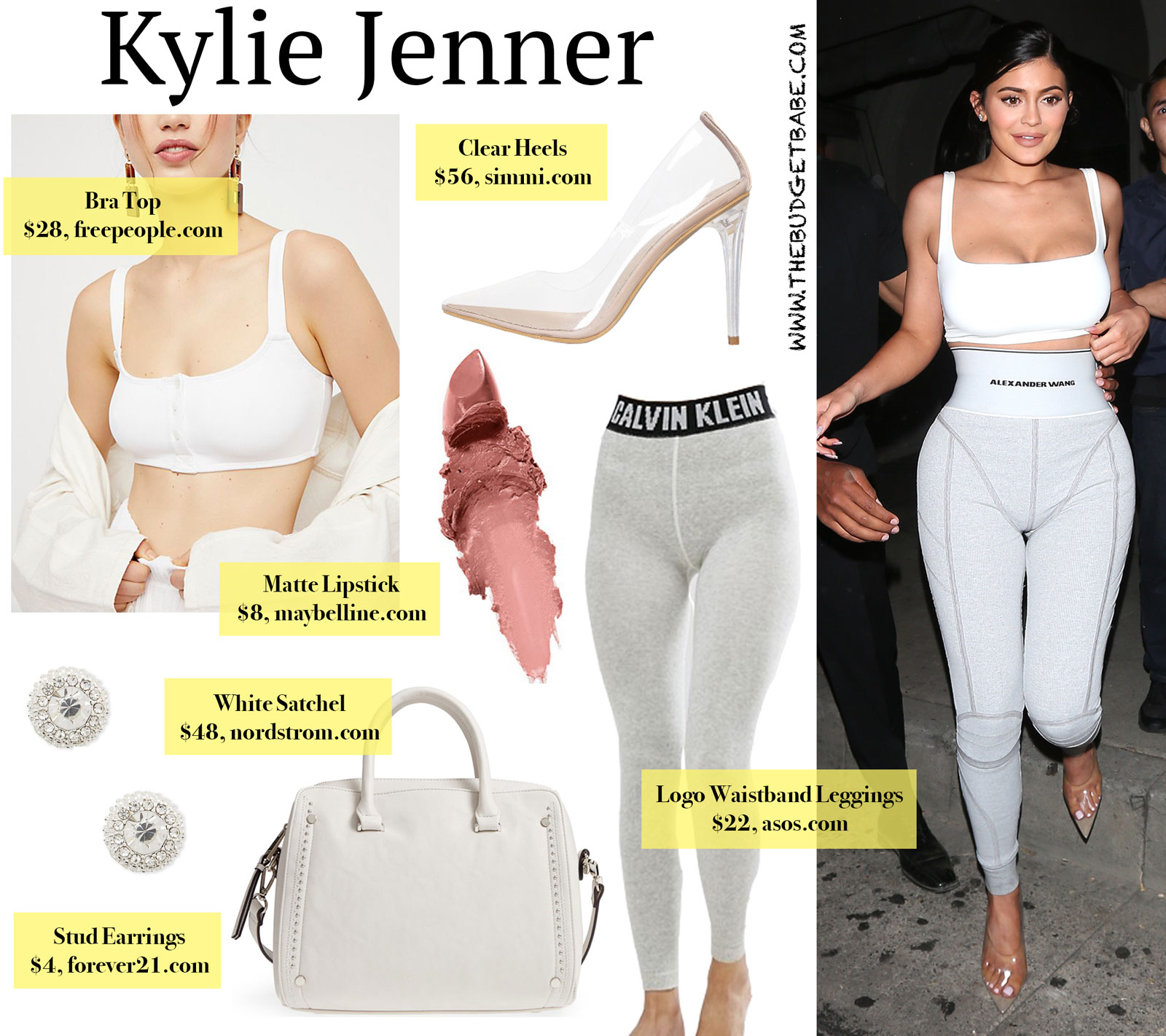 Kylie Jenner Logo Leggings and White Bra Top Look for Less
