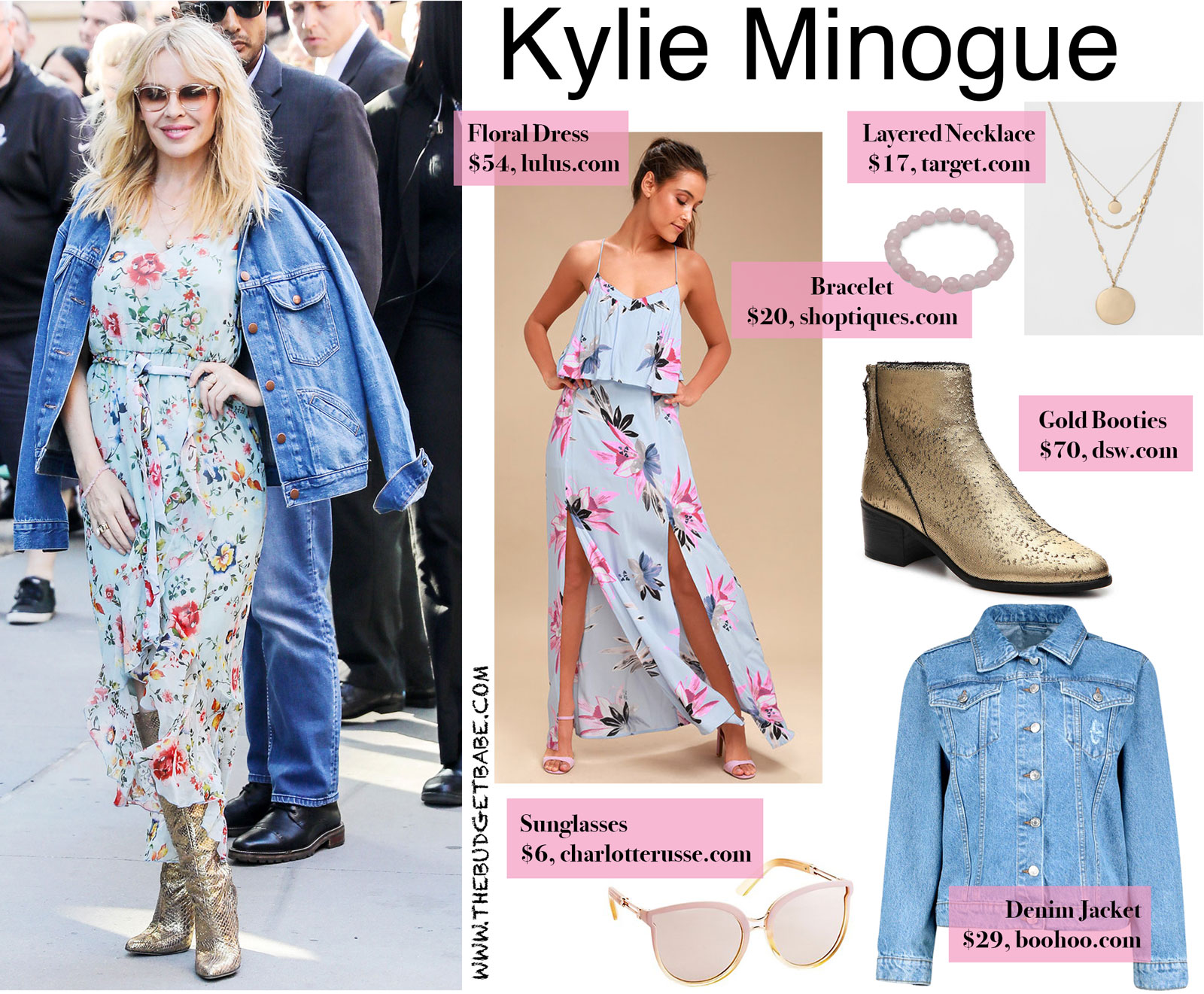 Kylie Minogue's Floral Dress and Gold Boots Look for Less