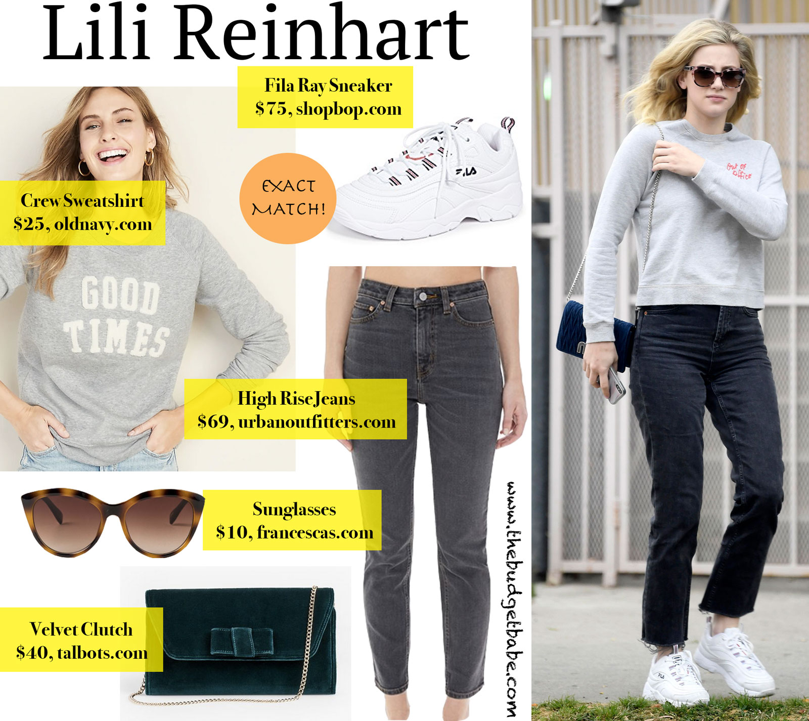 Lili Reinhart Grey Sweatshirt Look for Less