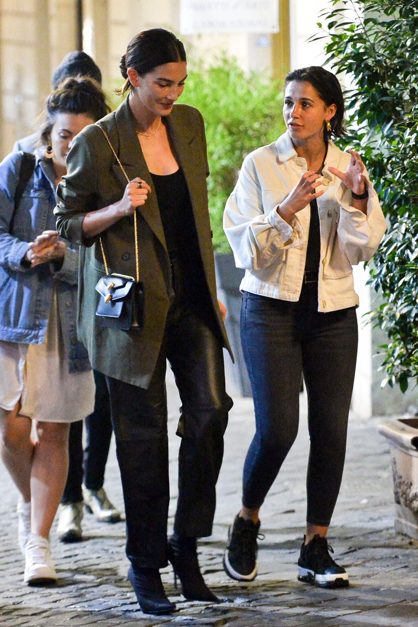 Lily Aldridge Oversized Blazer and Leather Pants