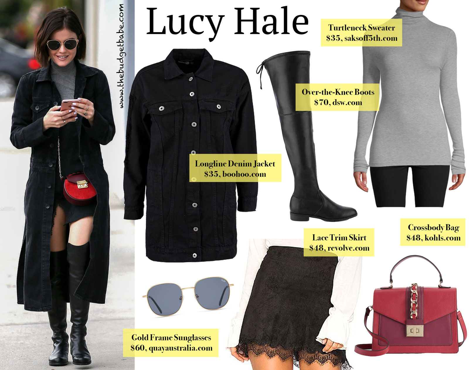 Lucy Hale Long Denim Jacket and Over the Knee Boots Look for Less