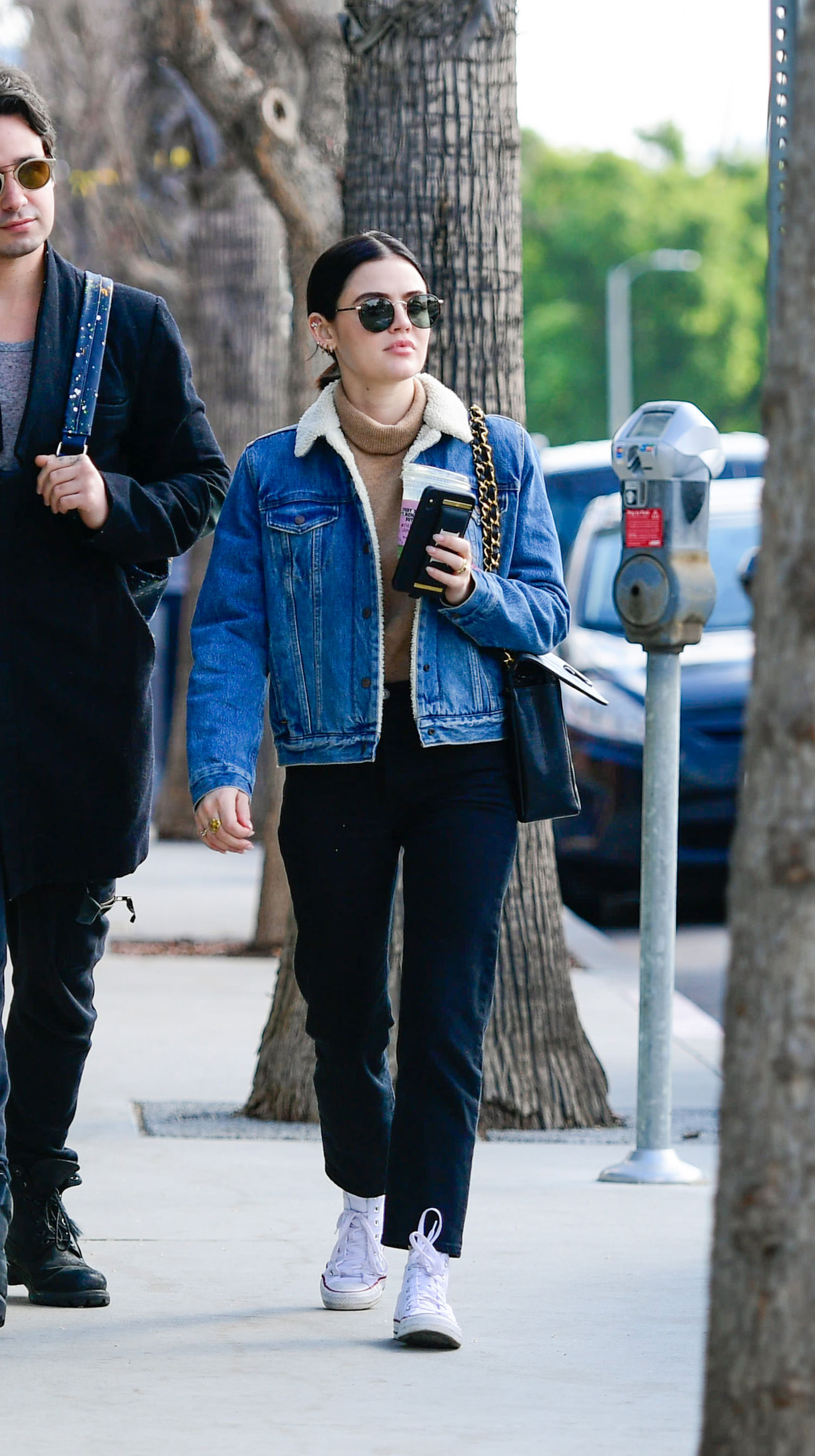 Lucy Hale Levi Sherpa Jacket and Converse