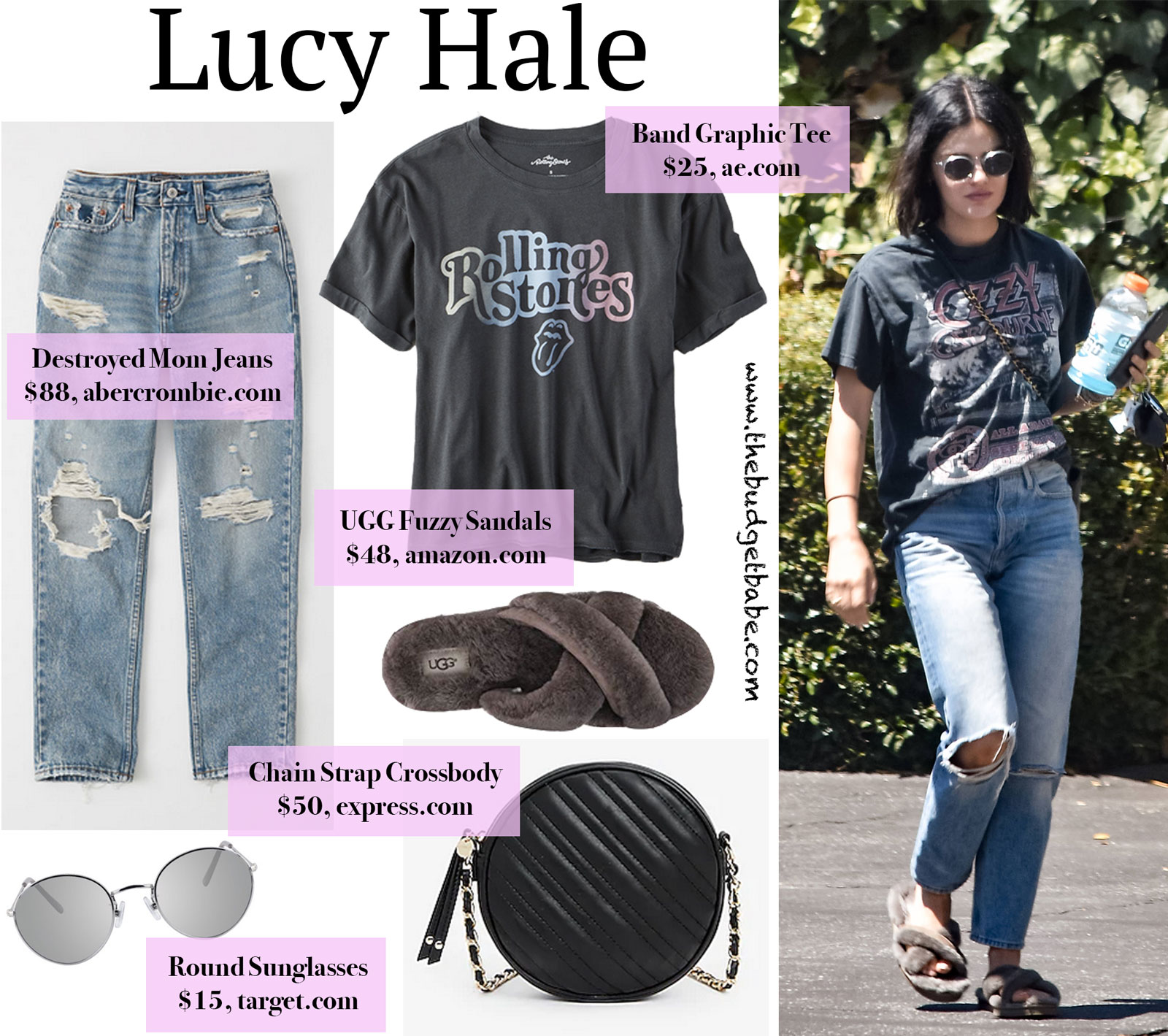 Lucy Hale Ozzy Tee and Fuzzy Slippers Look for Less