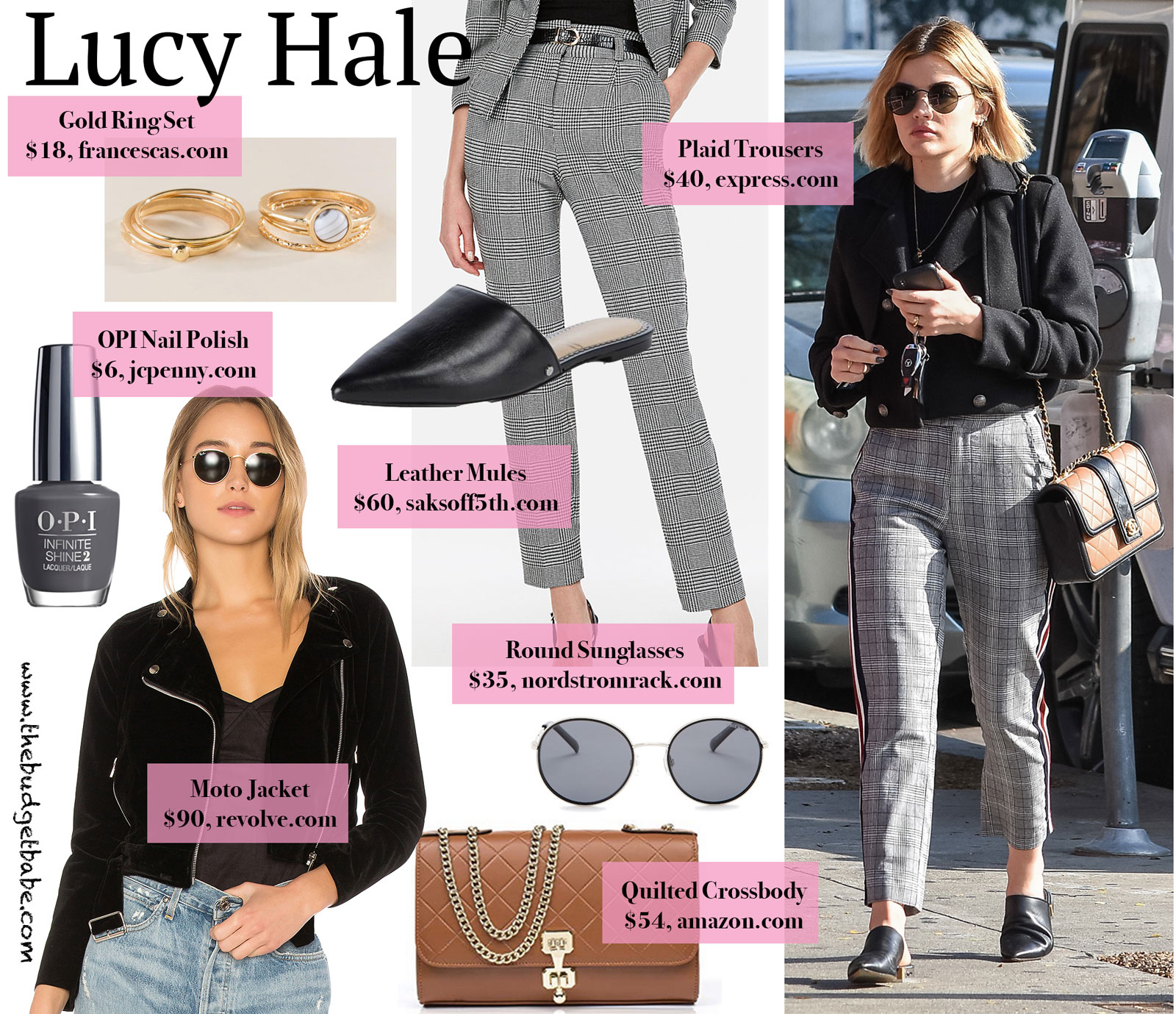 e0886f9f383b Lucy Hale's Cropped Pea Coat, Chanel Bag, and Plaid Trousers.