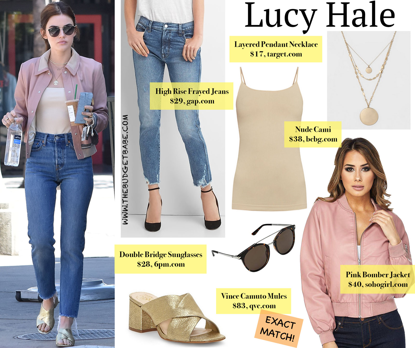 Lucy Hale Pink Bomber Jacket and Ray-Ban Look for Less