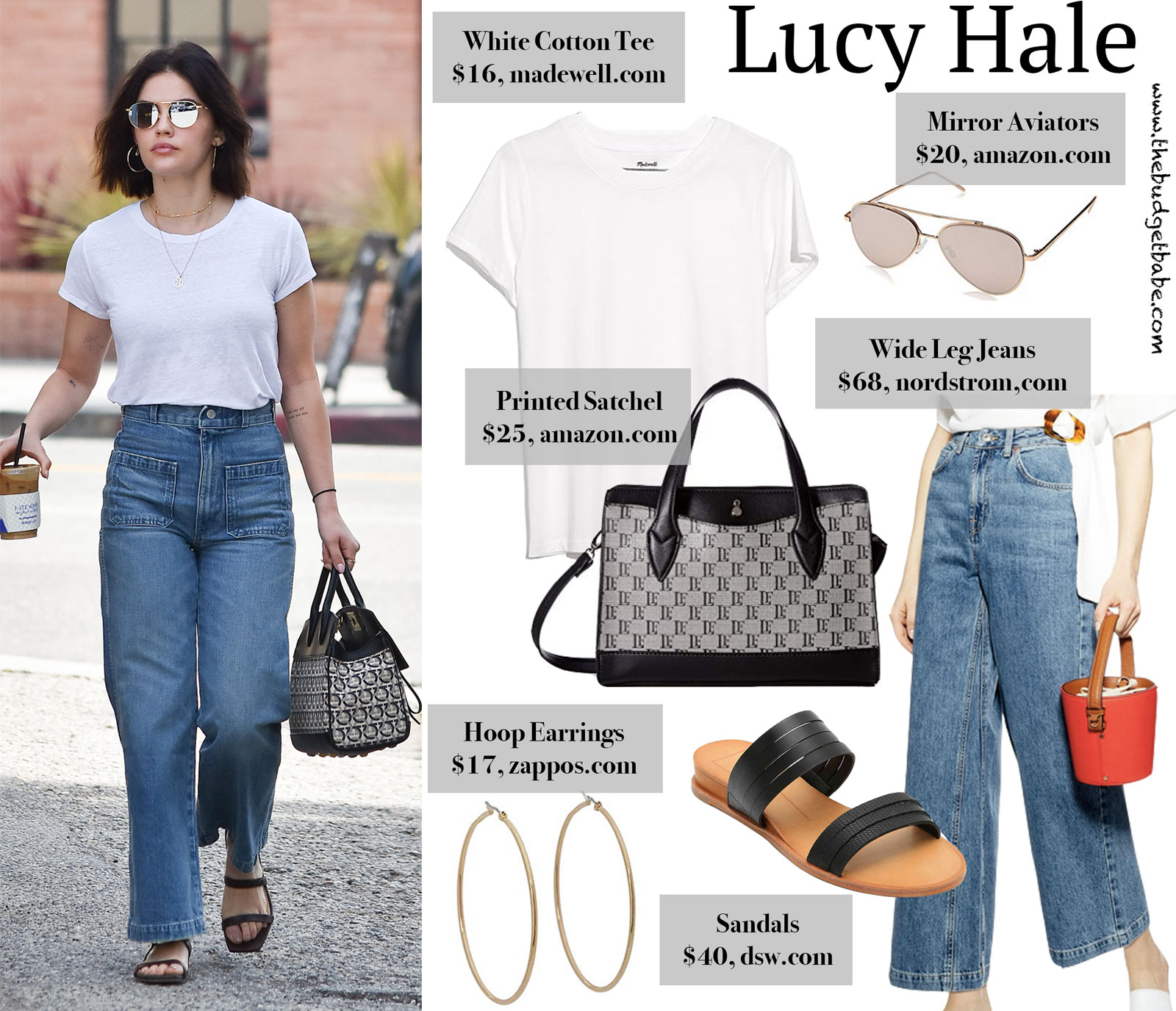 Lucy Hale White Tee and Wide Leg Jeans Look for Less