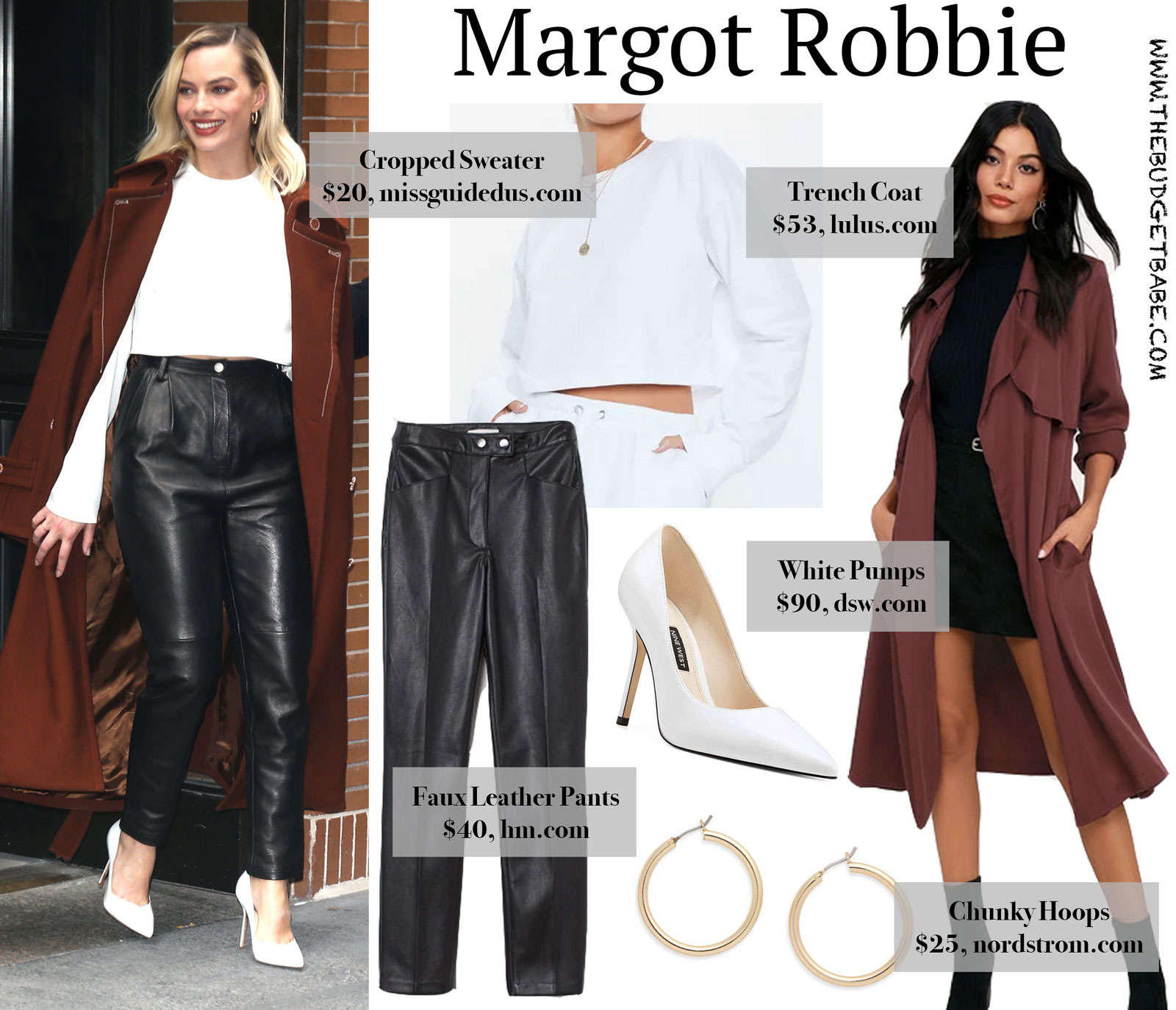 Margot Robbie Red Coat and Leather Pants Look for Less