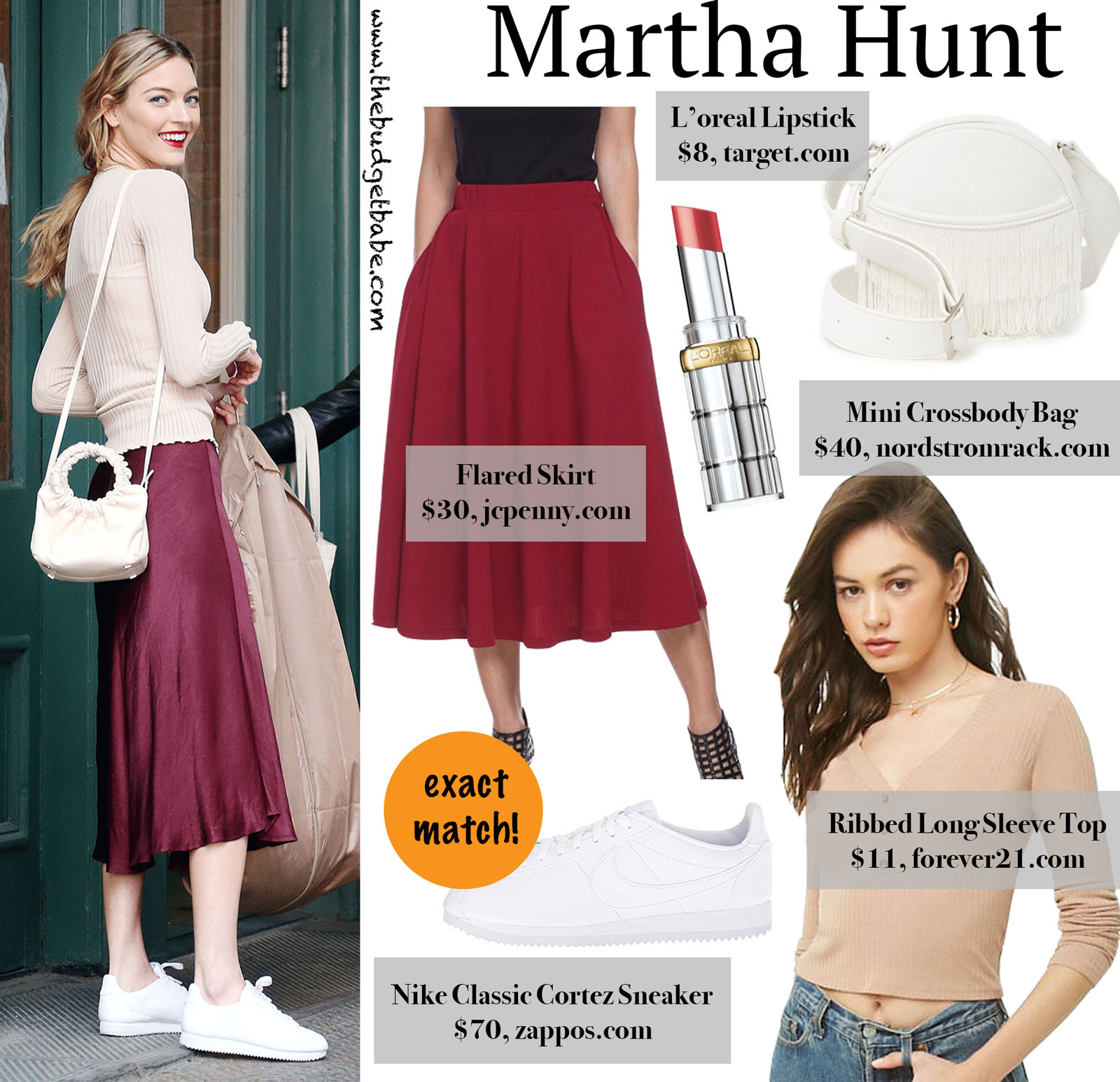 Martha Hunt Burgundy Flare Skirt Look for Less