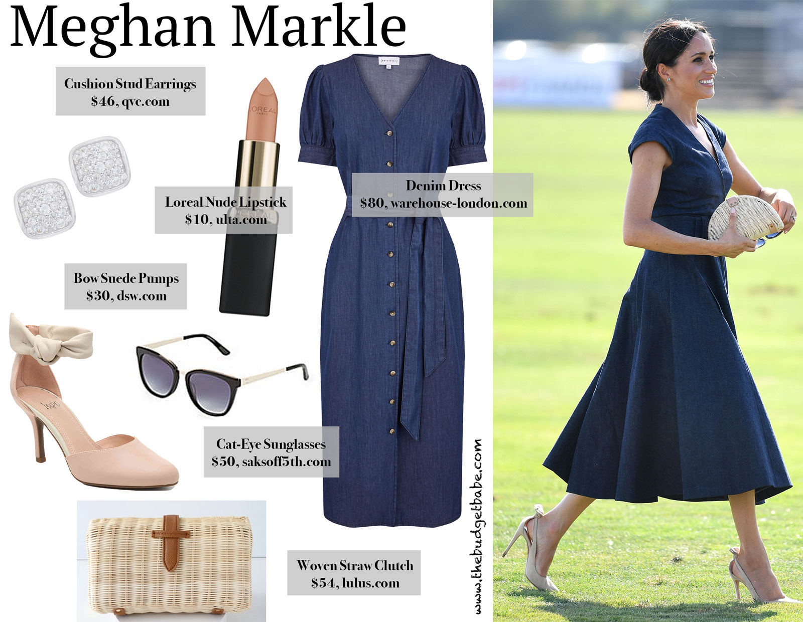 55506c97567 Meghan Markle s Denim Dress and Bow Suede Heels Look for Less