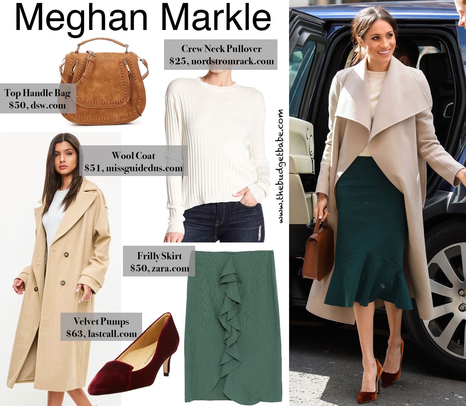 Meghan Markle Green Skirt and Wool Coat Look for Less