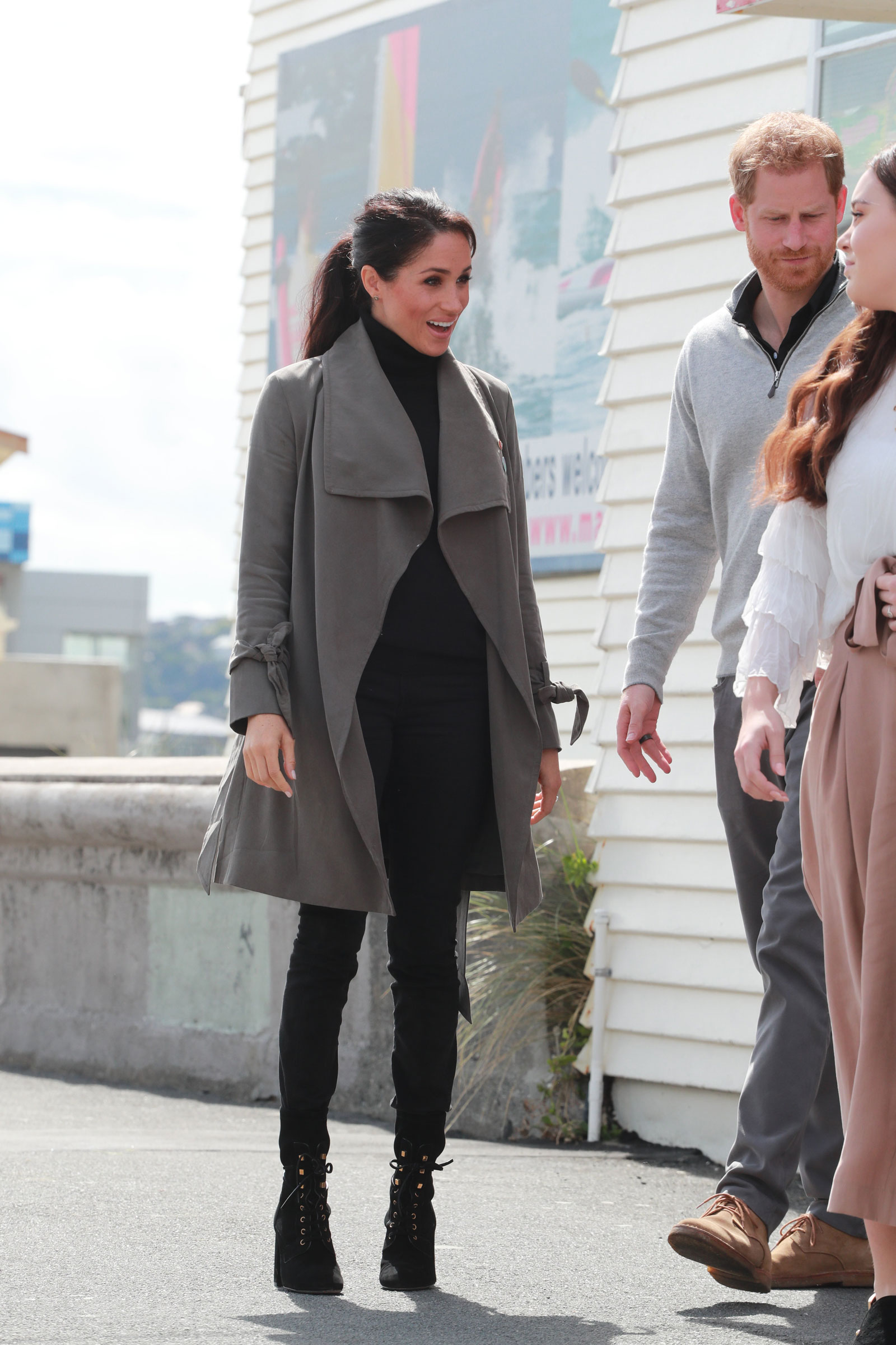Meghan Markle Green Trench and Heeled Combat Boots