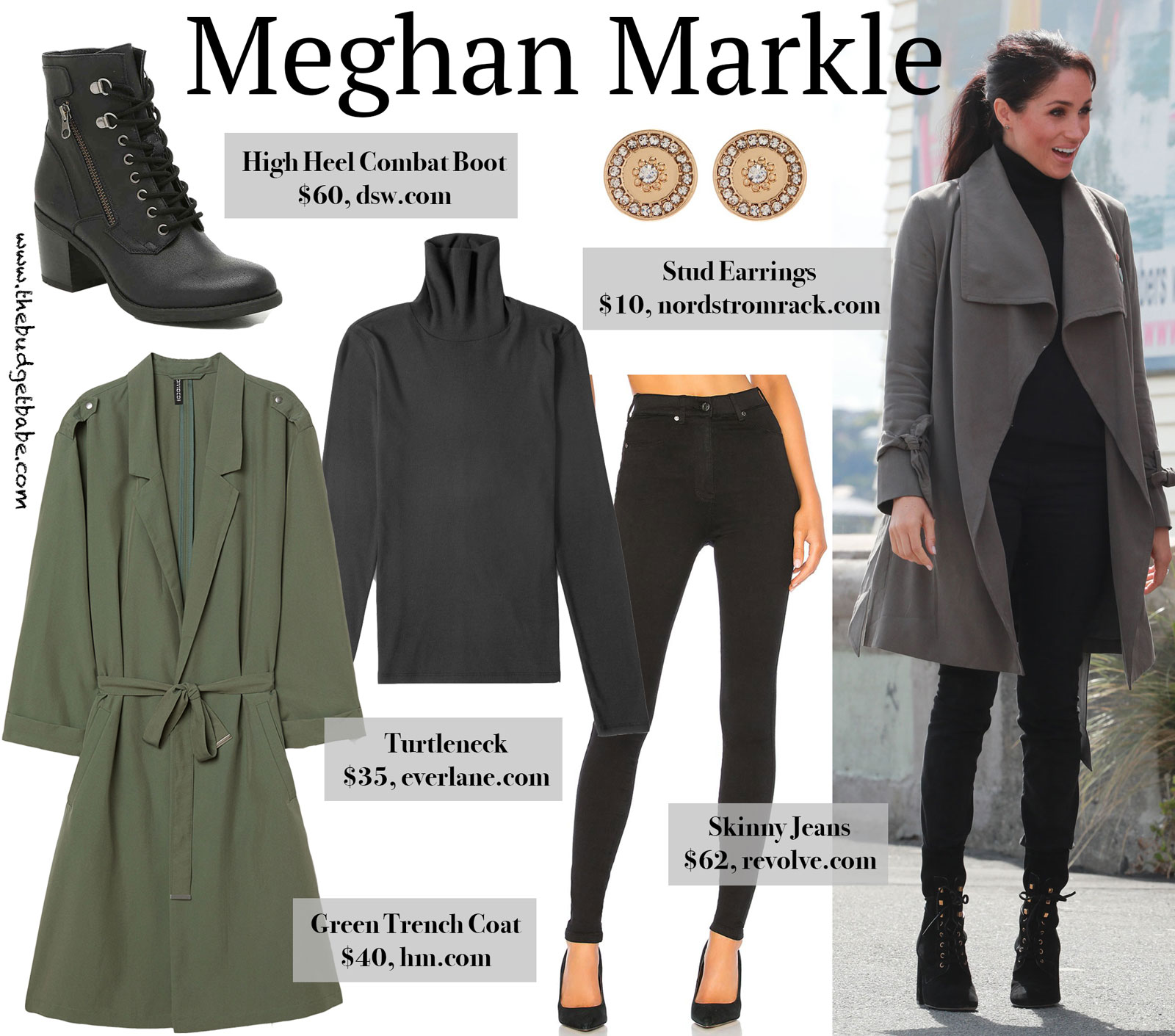Meghan Markle Green Trench Look for Less