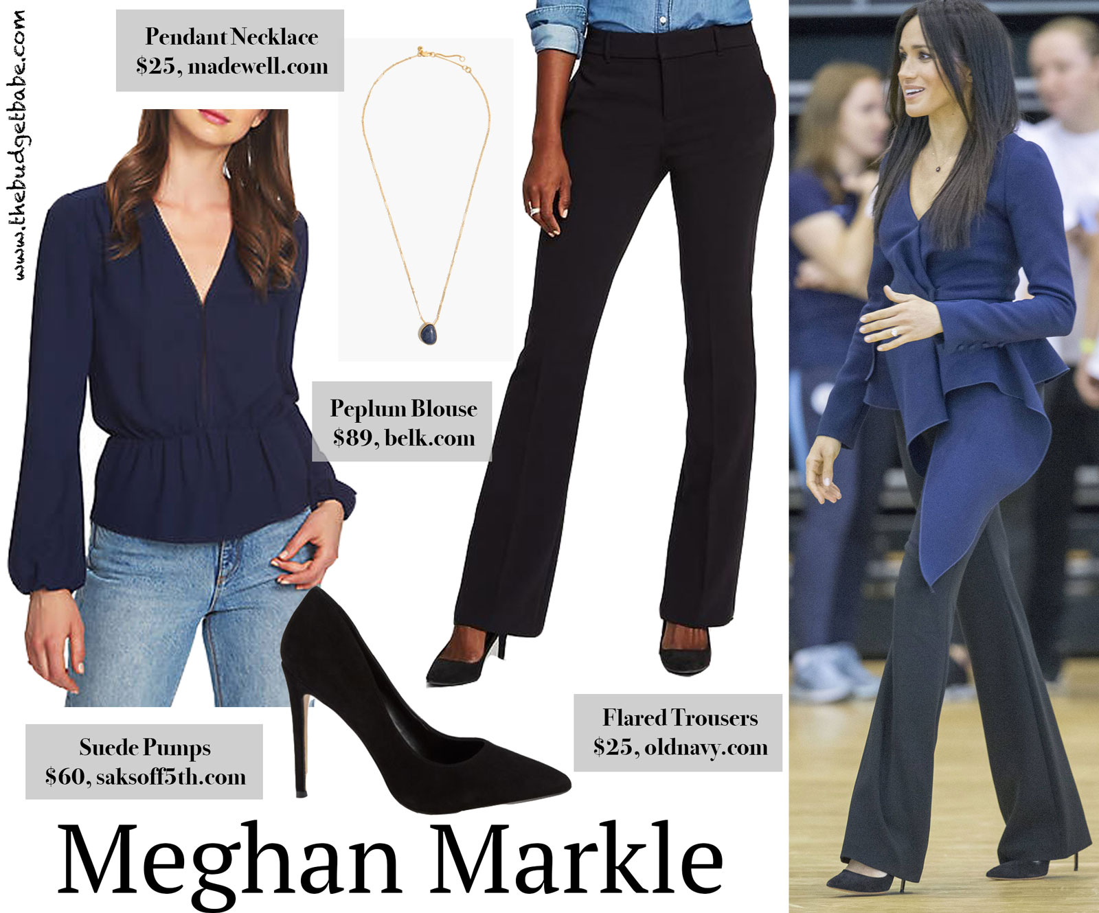 Meghan Markle Blue Peplum Blouse Look for Less