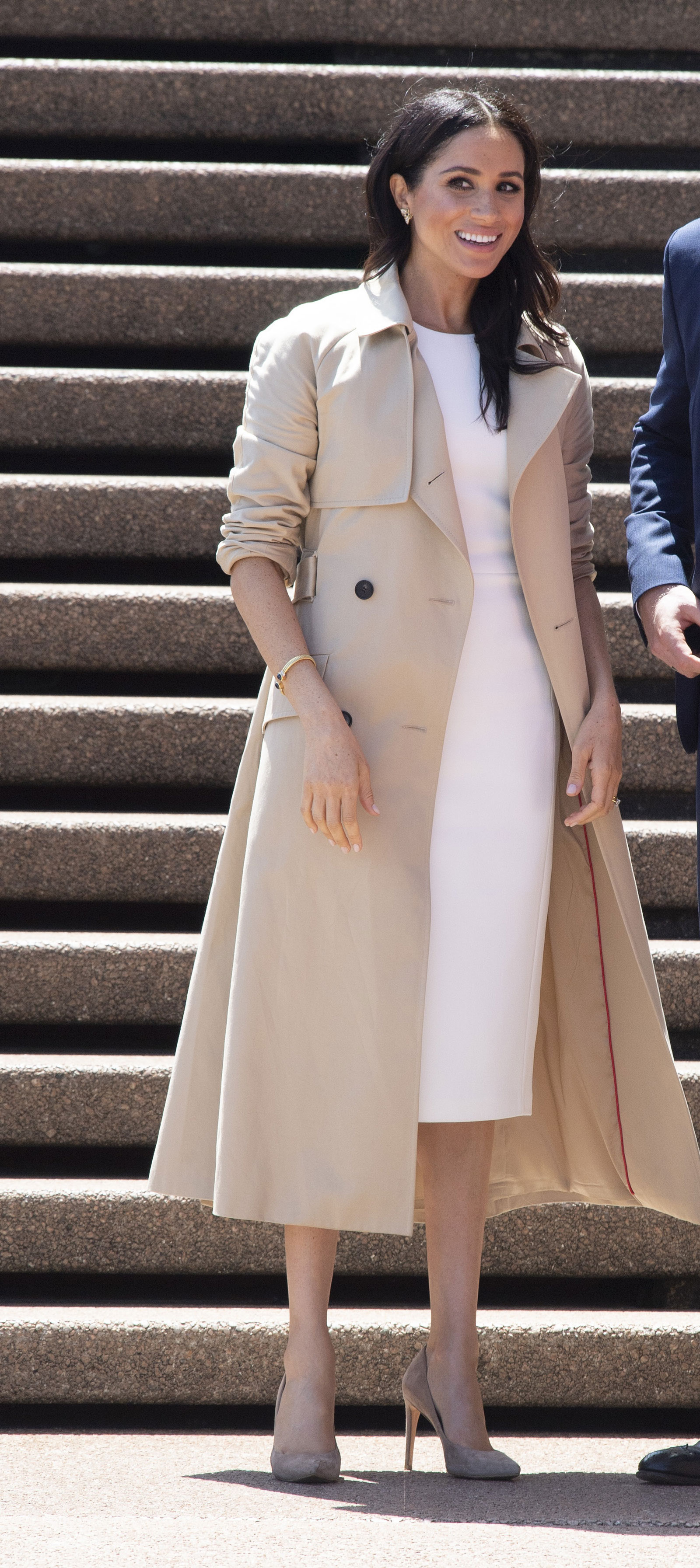 Meghan Markle Trench Coat and Sheath Dress