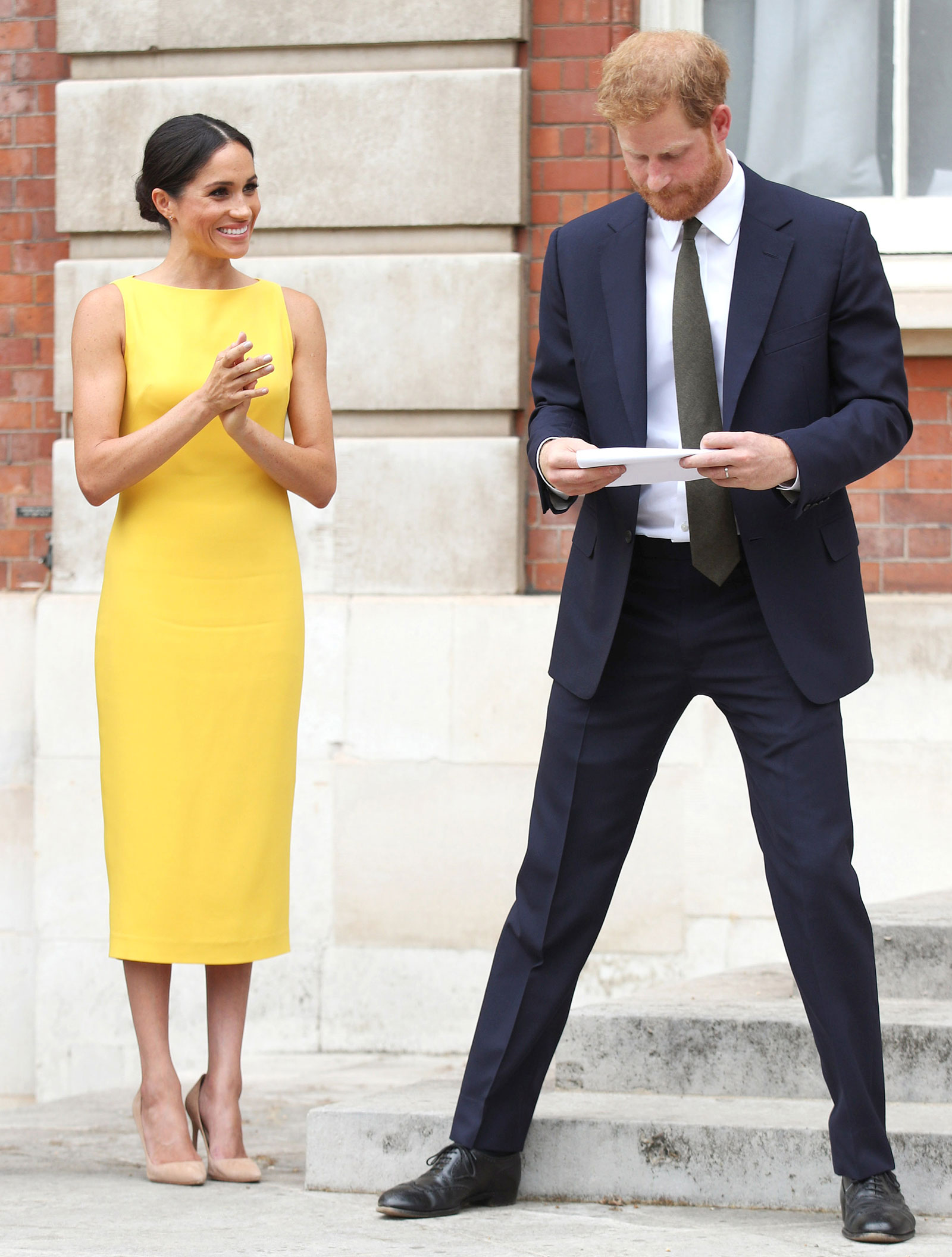 Meghan Markle Yellow Dress and Nude Pumps