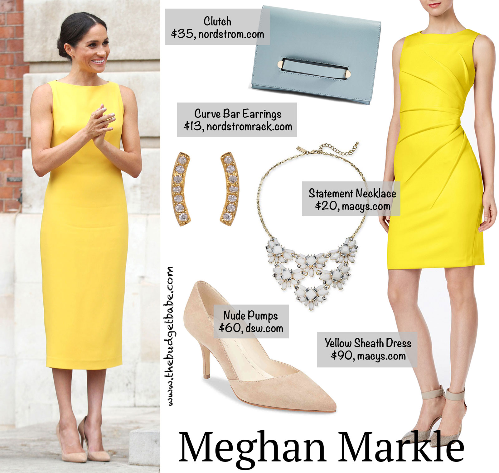 d7927b043f9d Get the Look for Less  Megan Markle s Stunning Yellow Dress.