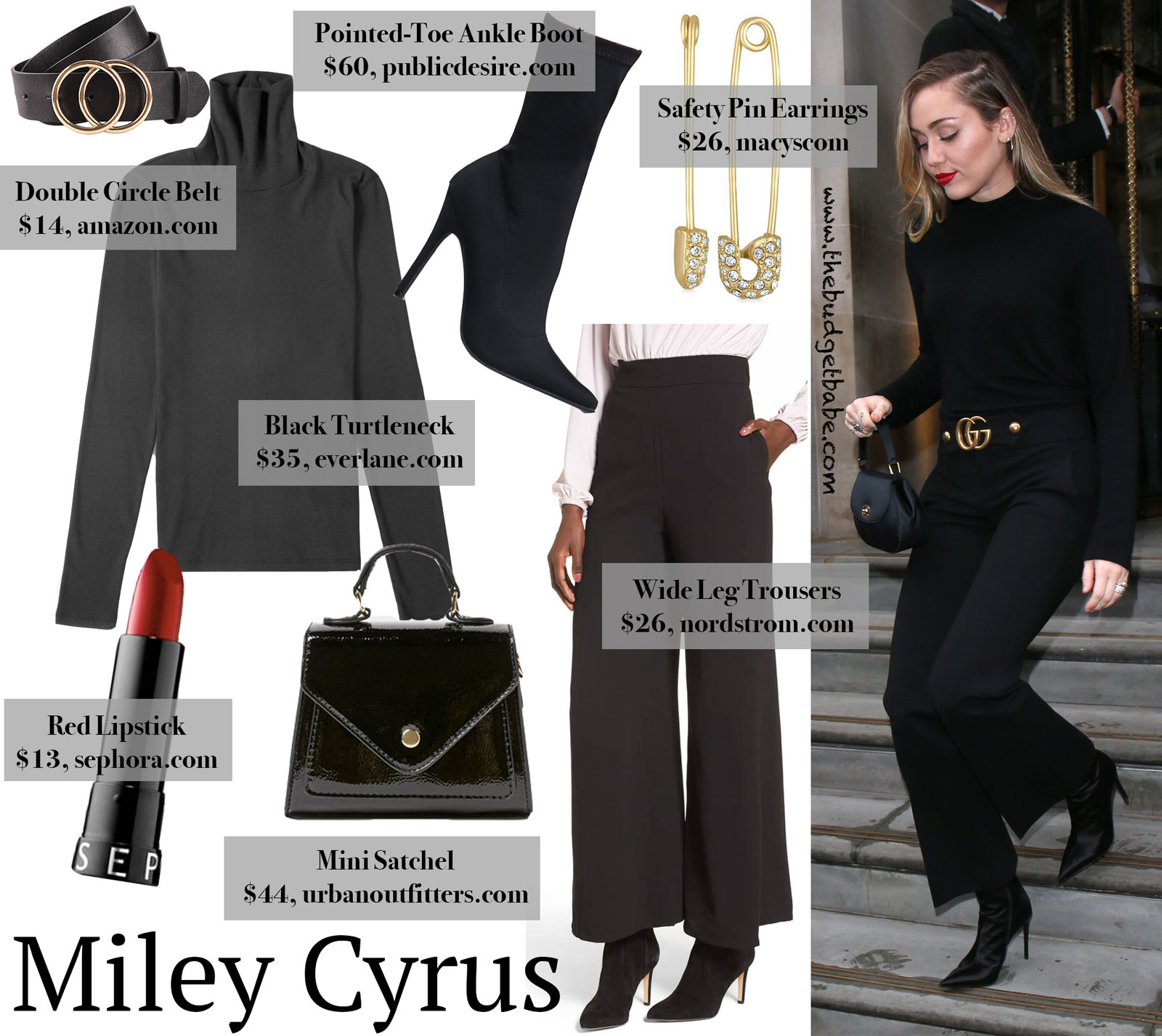 Miley Cyrus All Black Look Featuring Gucci Trousers And Vince Turtleneck The Budget Babe Affordable Fashion Style Blog