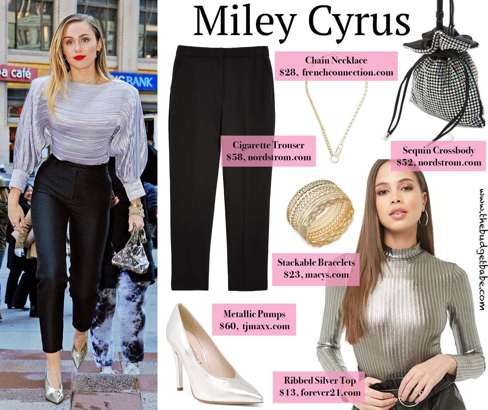 Miley Cyrus Loui Vuitton Silver Top Look for Less
