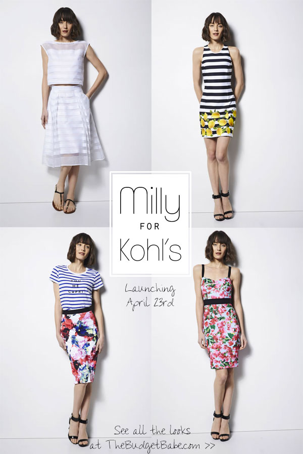 Milly is launching a budget-friendly designer collection for Kohl's! April 23rd. See all the looks at thebudgetbabe.com.