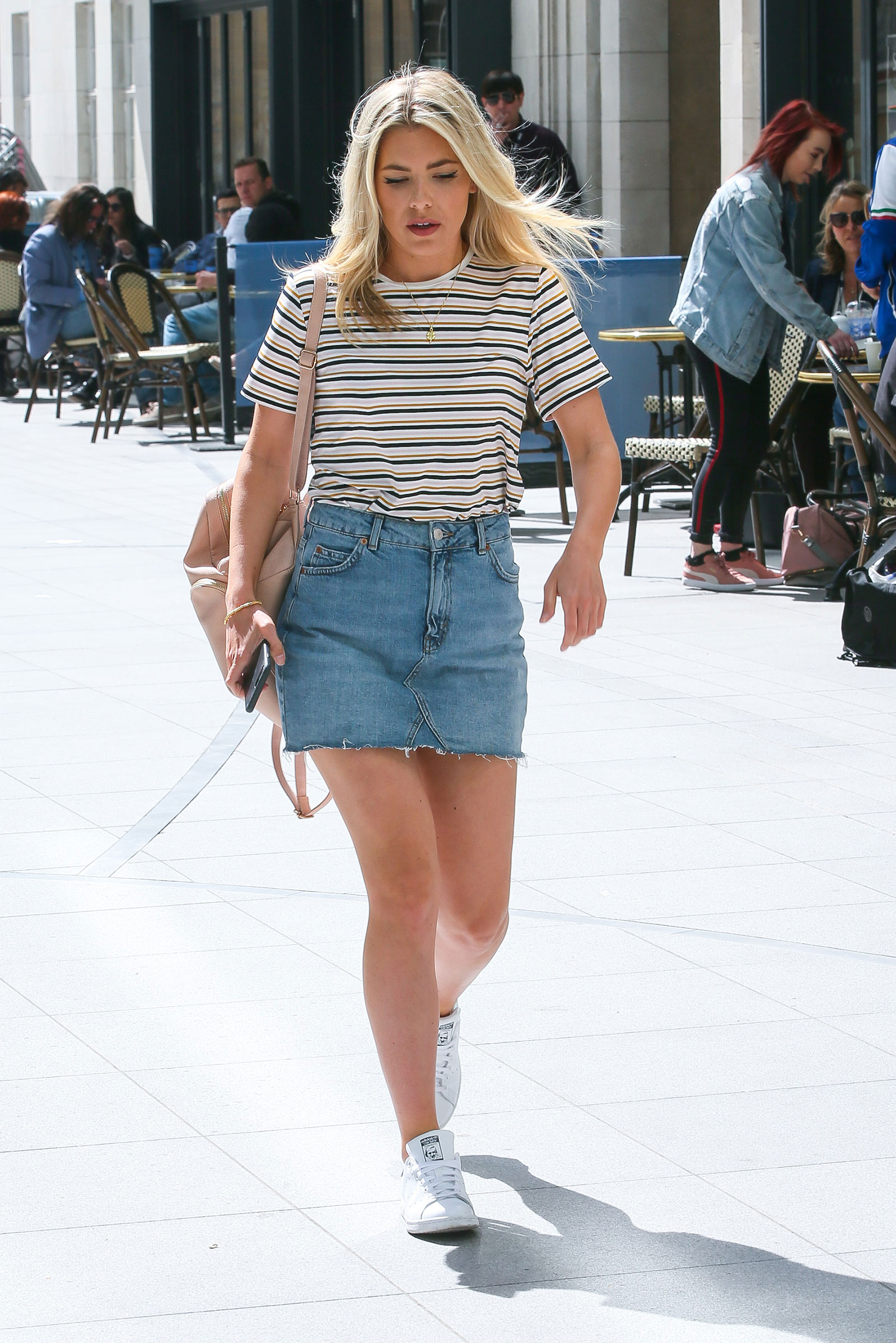 Molly King Denim Skirt Striped Tee