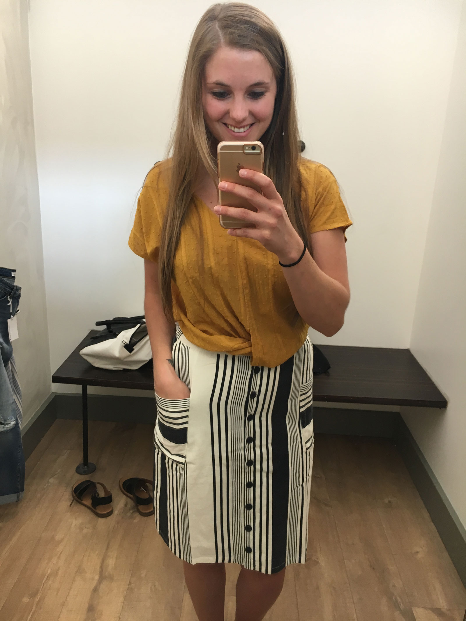 Hope Ave. Stripe Skirt and Mustard Twist Front Blouse