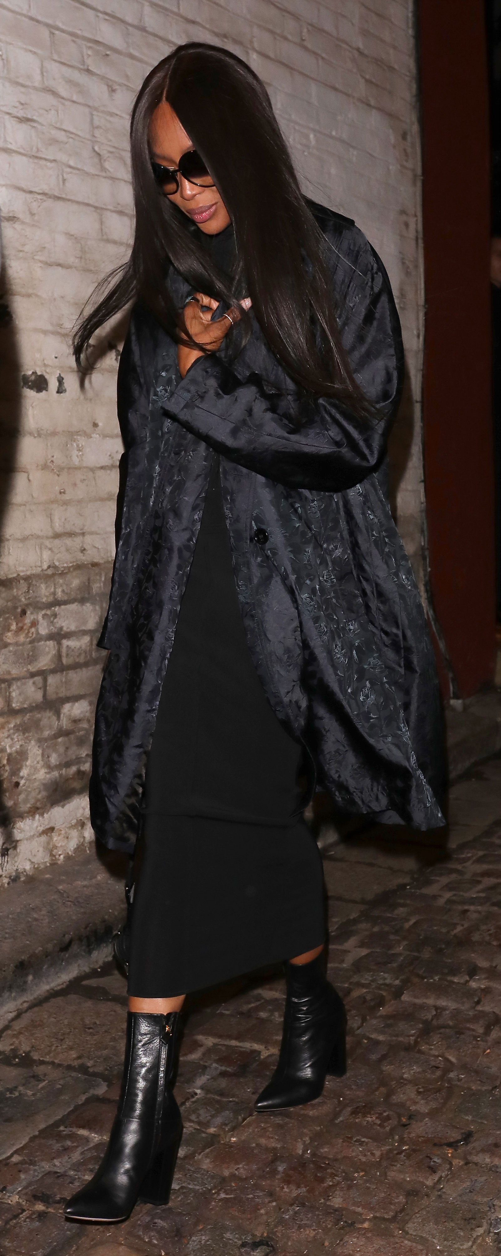Naomi Campbell Black Coat and Boots