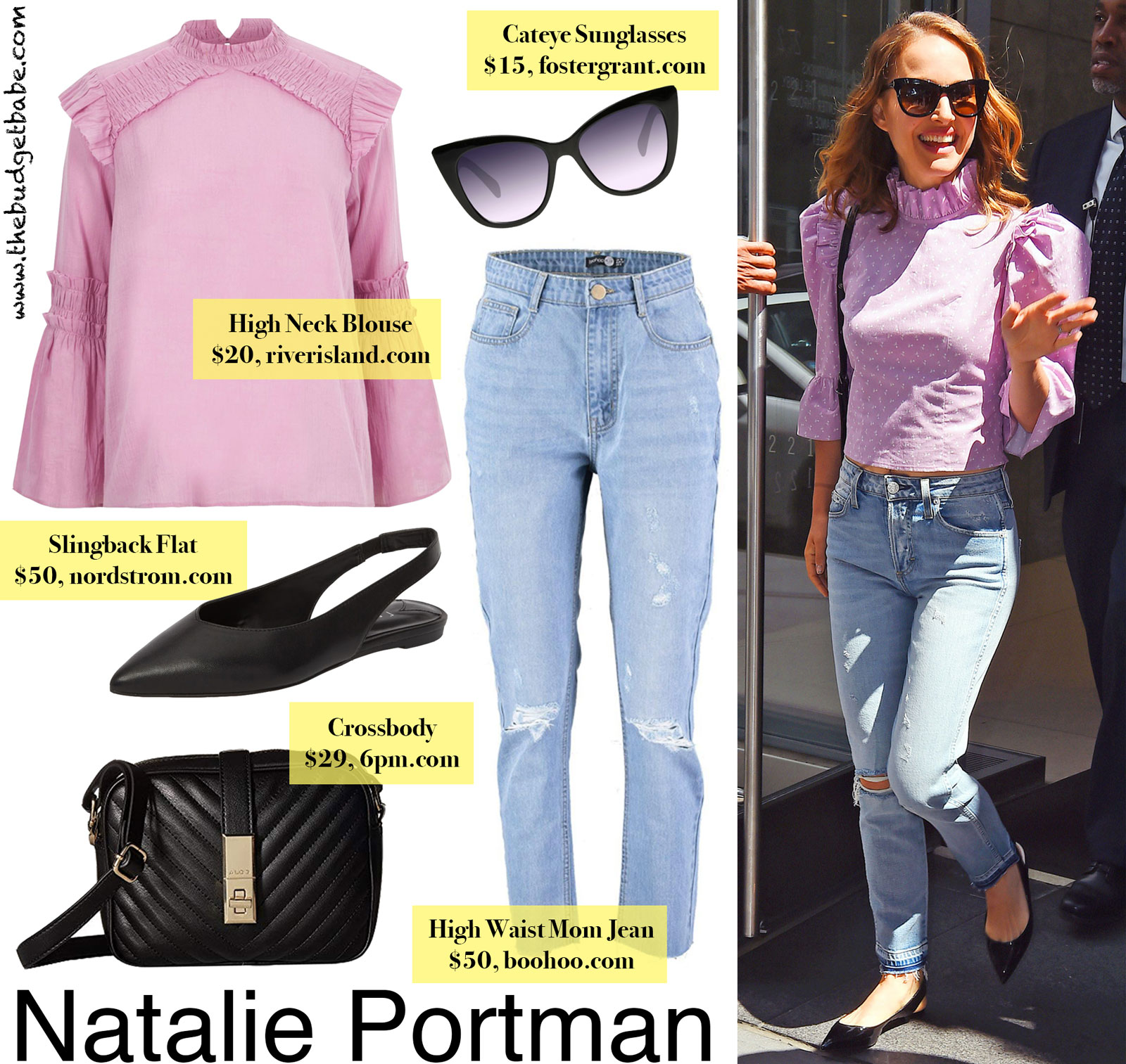 Natalie Portman High Neck Blouse Look for Less