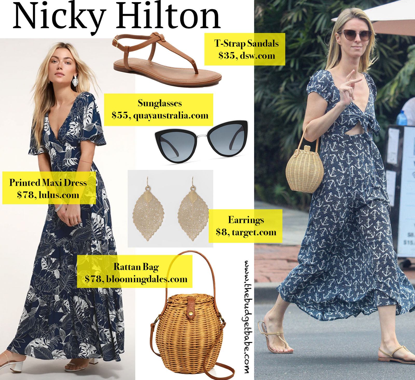 Nicky Hilton Maxi Dress and Rattan Bag Look for Less