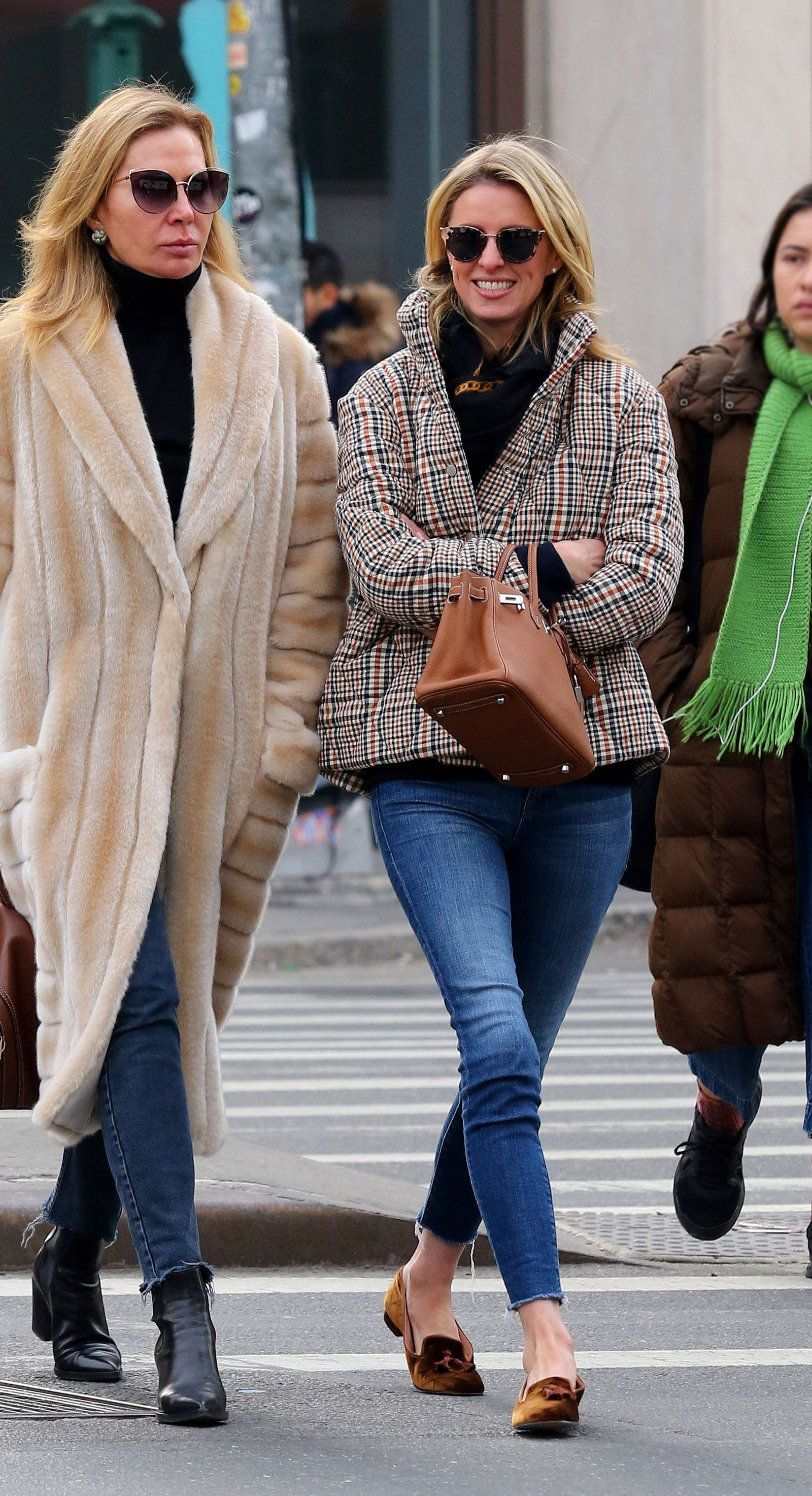 Nicky Hilton Plaid Puffer Coat and Hermès Birkin Bag